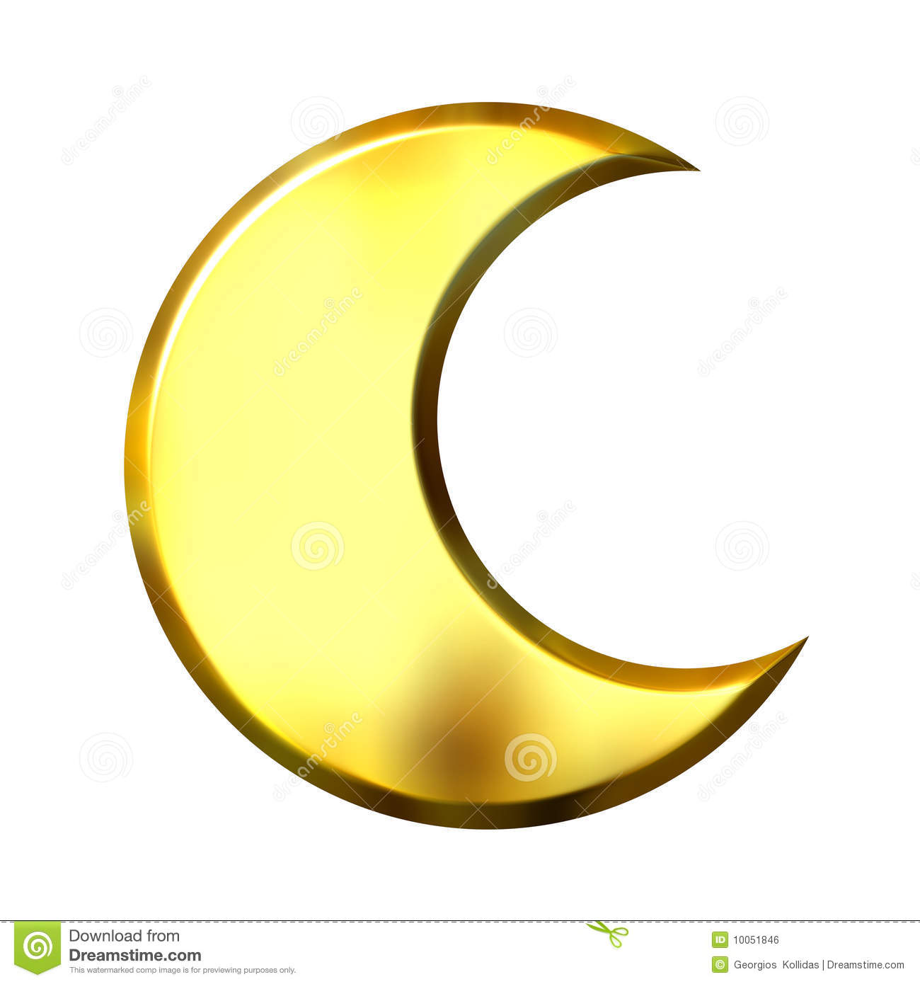 3d Golden Crescent Moon Royalty Free Stock Image Image