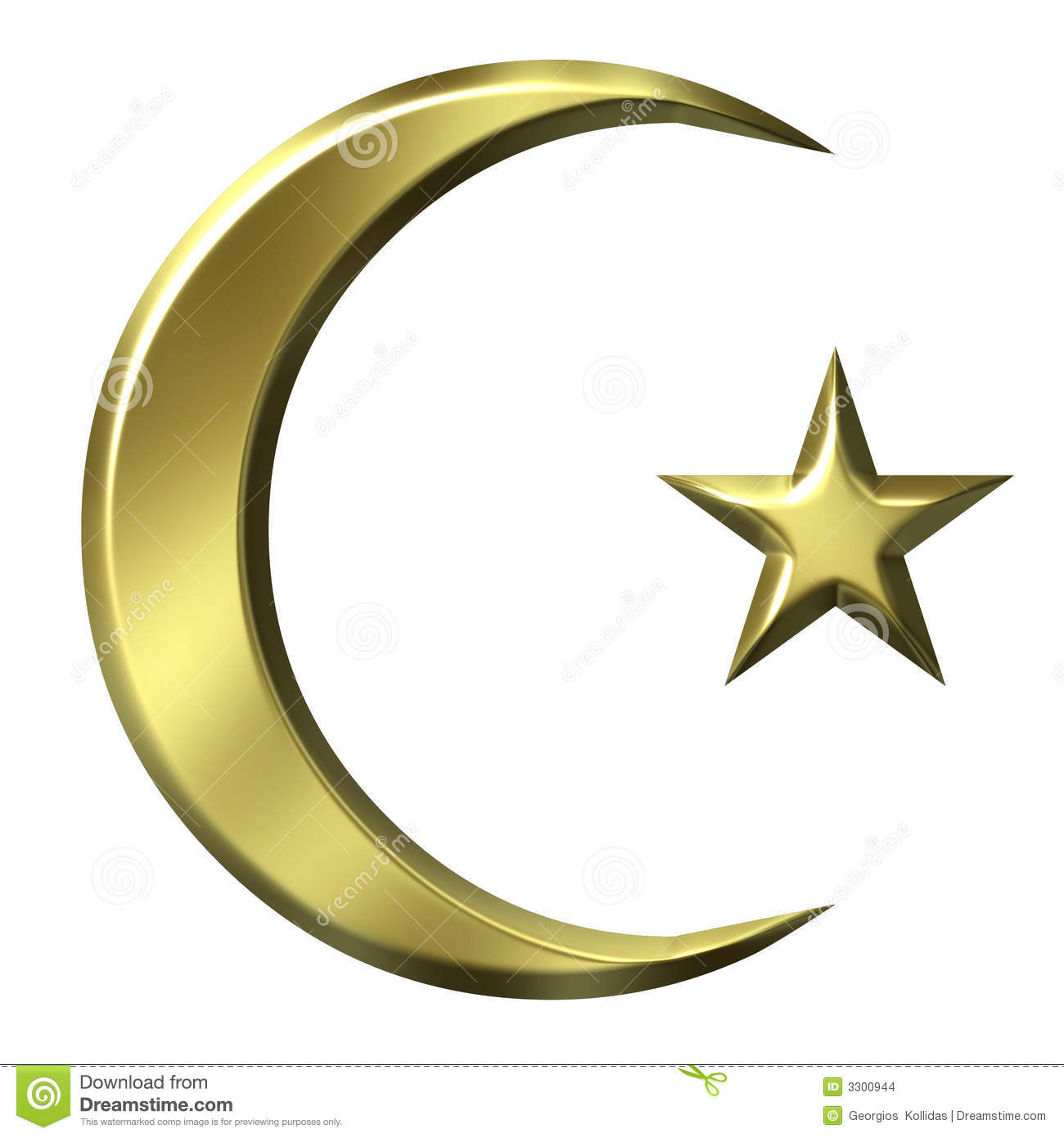3D Golden Islamic Symbol Stock Images - Image: 3300944