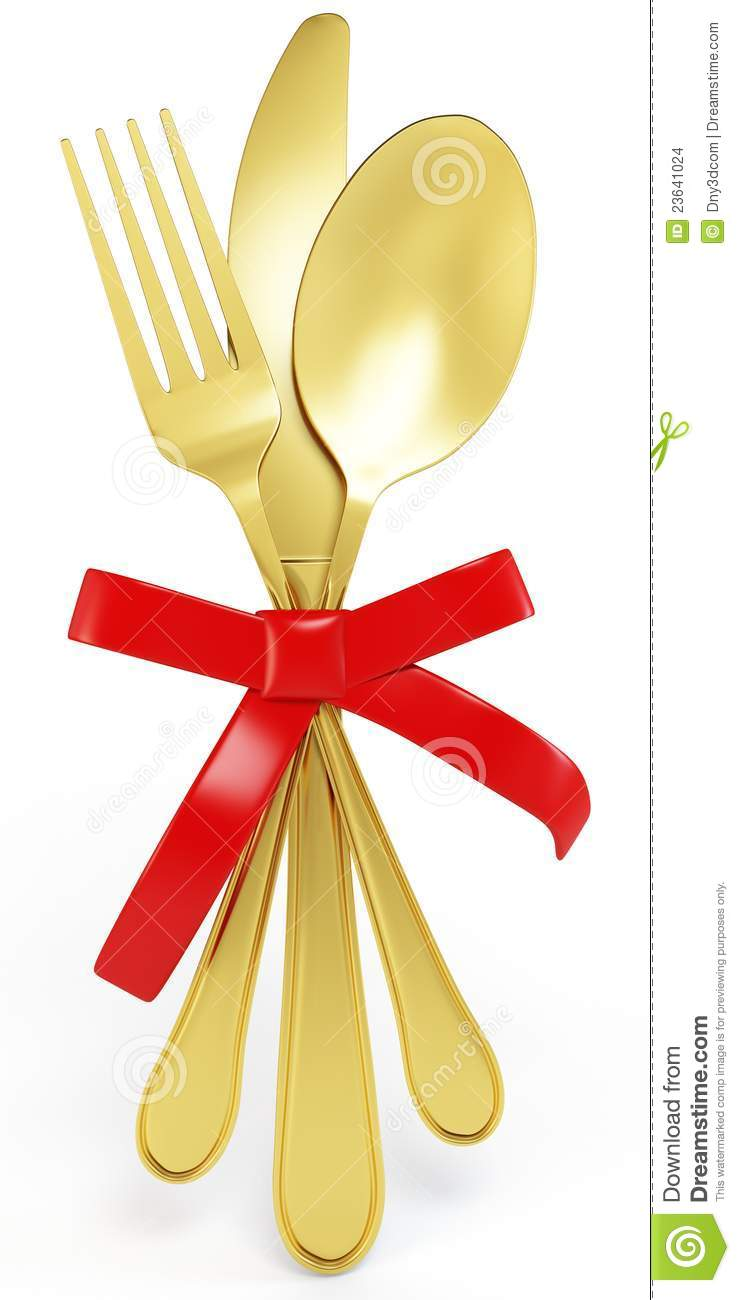 3d Golden Knife Spoon And Fork With Red Bow Stock Illustration Illustration Of Golden Cook