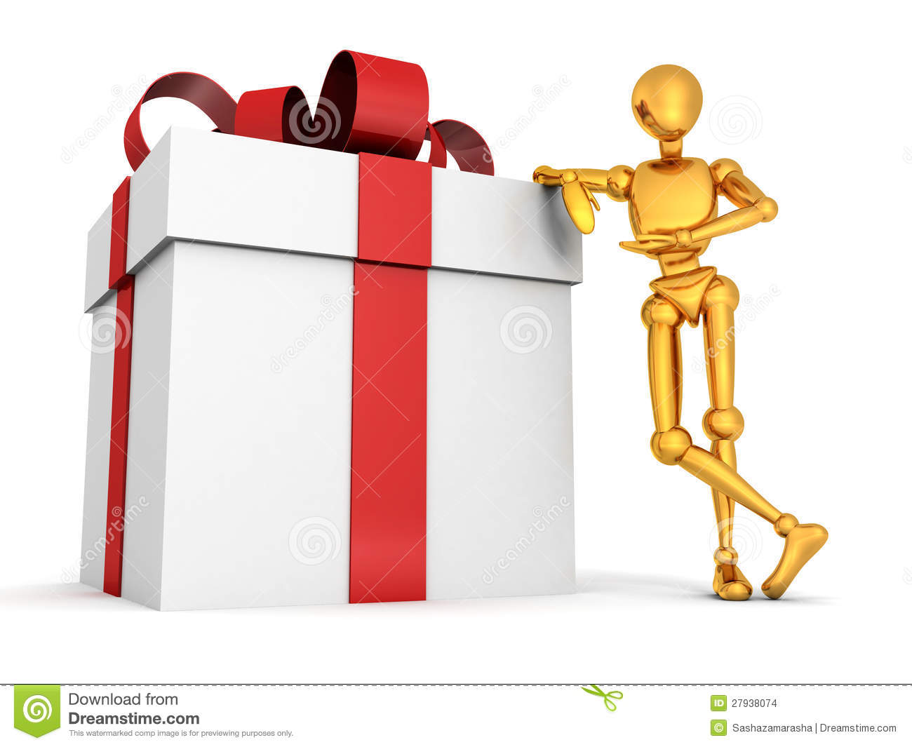 3d golden man with big gift box on white stock images