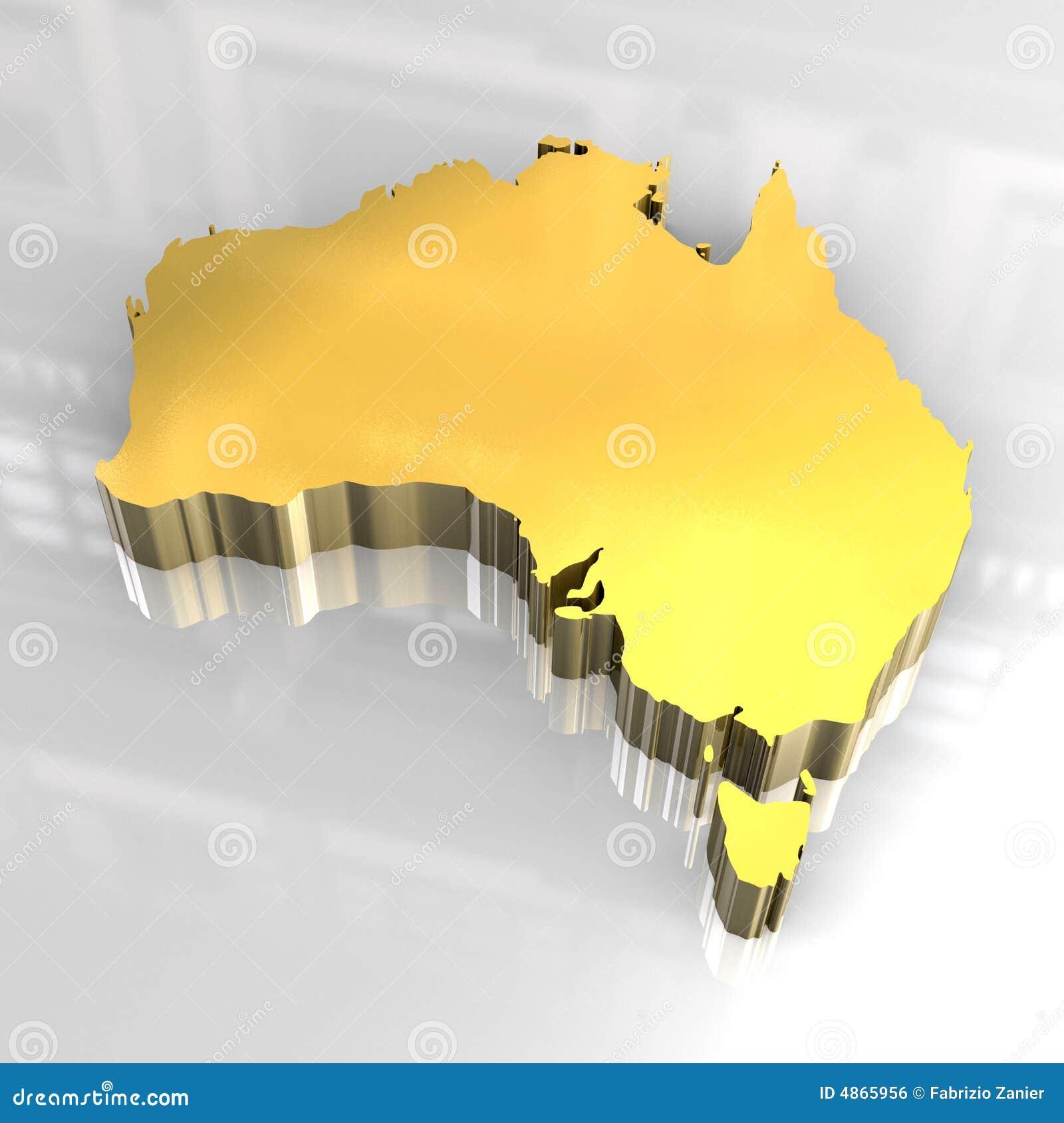 Free 3d Map Of Australia.3d Golden Map Of Australia Stock Illustration Illustration Of Clip