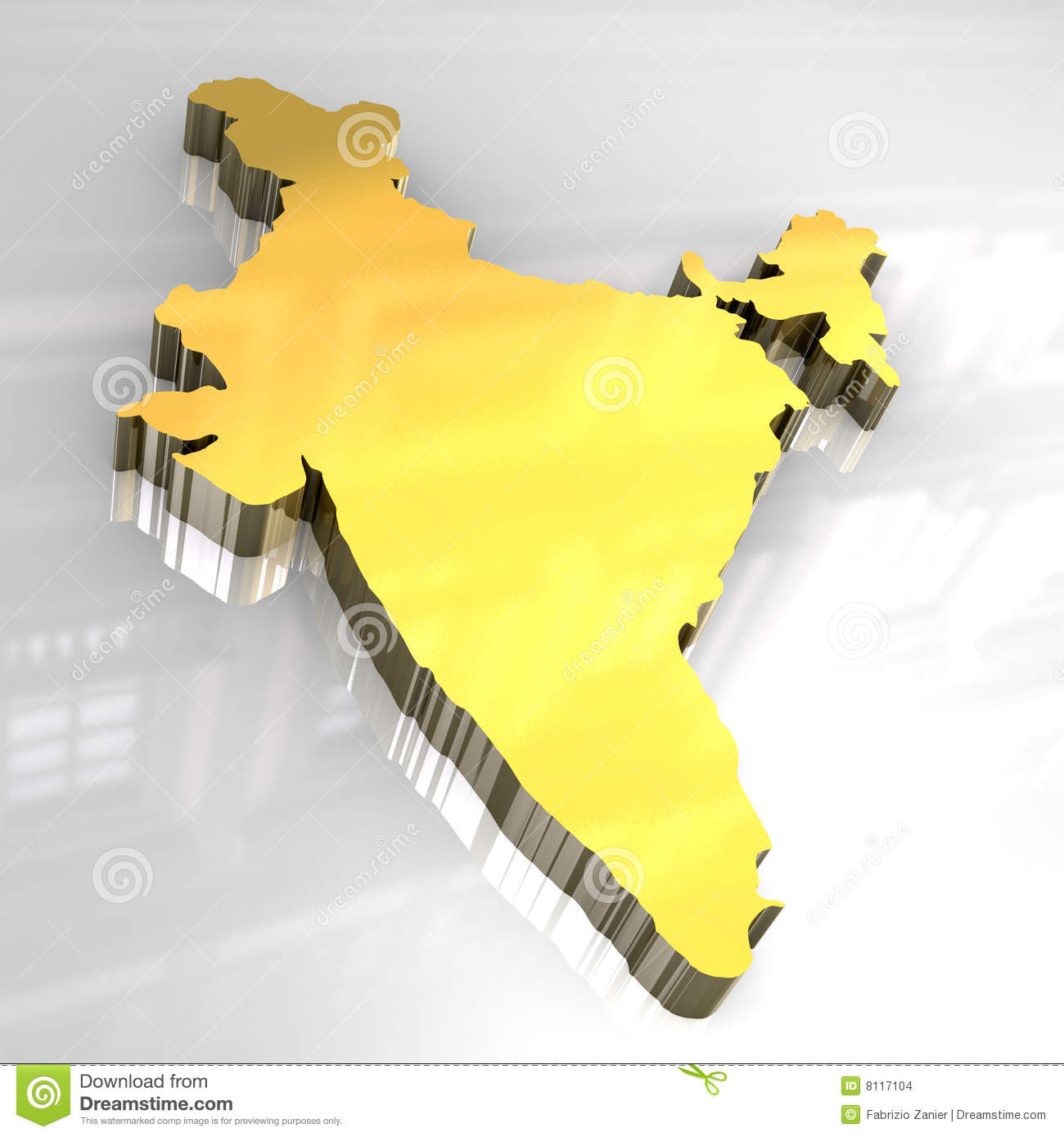 3d Golden Map Of India Stock Images Image 8117104