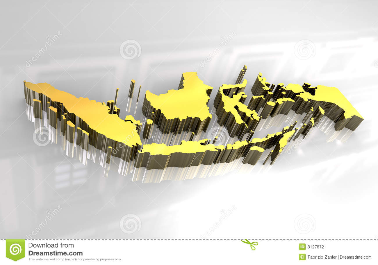 3d golden map of Indonesia Royalty Free Stock