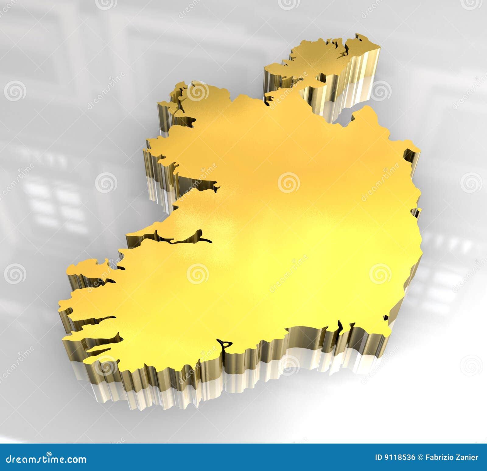 Map Of Ireland 3d.3d Golden Map Of Ireland Stock Illustration Illustration Of Ireland
