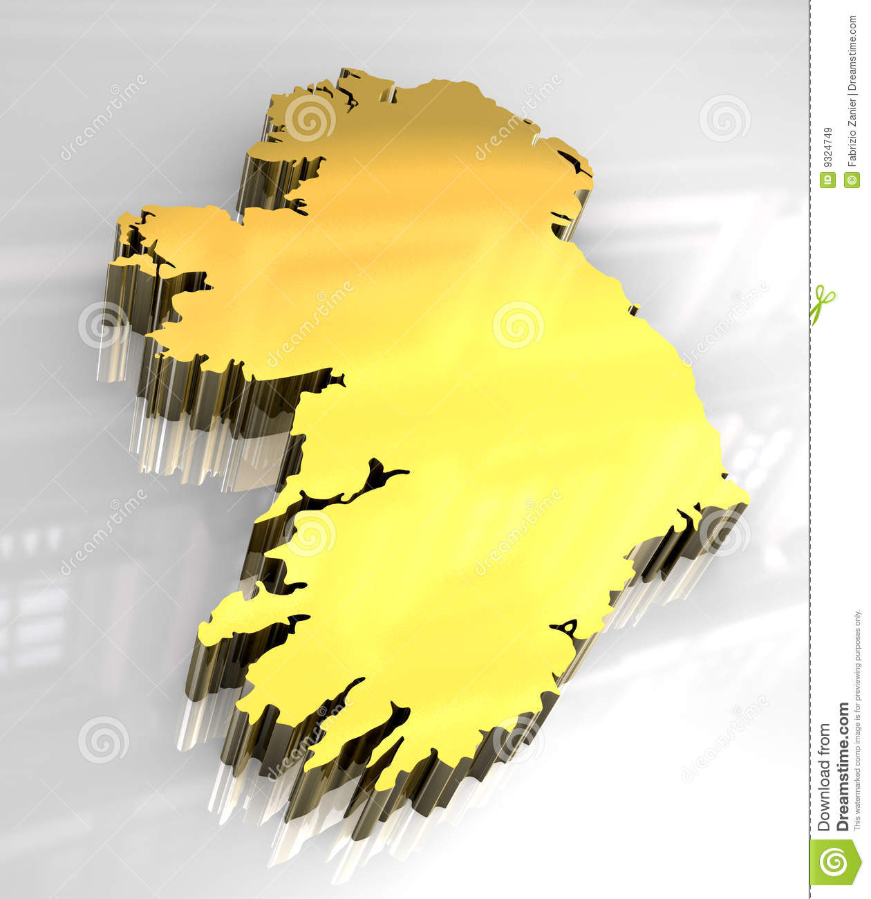 Map Of Ireland 3d.3d Golden Map Of Ireland Stock Illustration Illustration Of Great