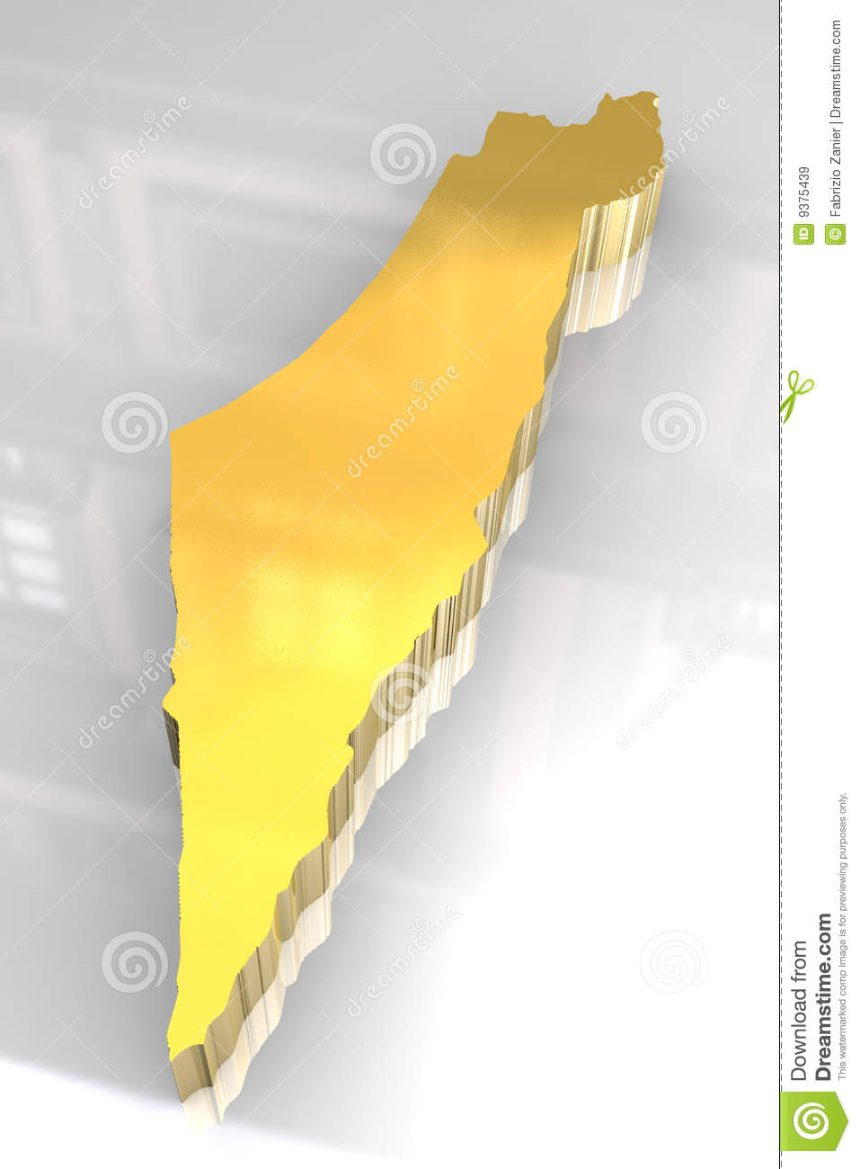 3d Golden Map Of Israel Royalty Free Stock Images Image
