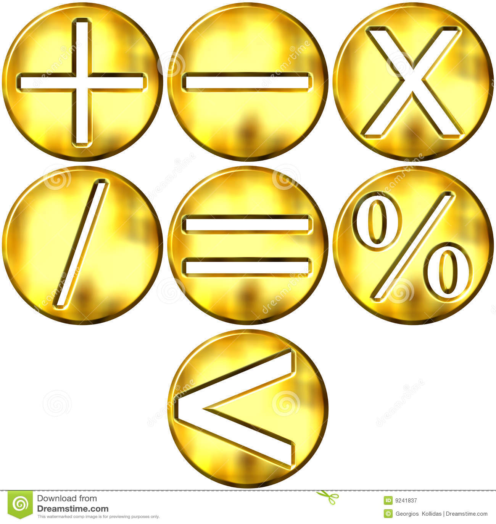 3d Golden Math Symbols Stock Illustration Illustration Of Divide