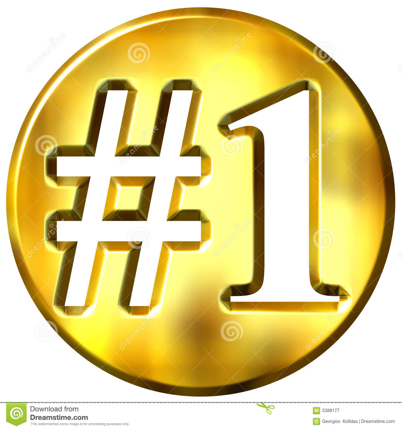 3d Golden Number 1 Concept Stock Illustration