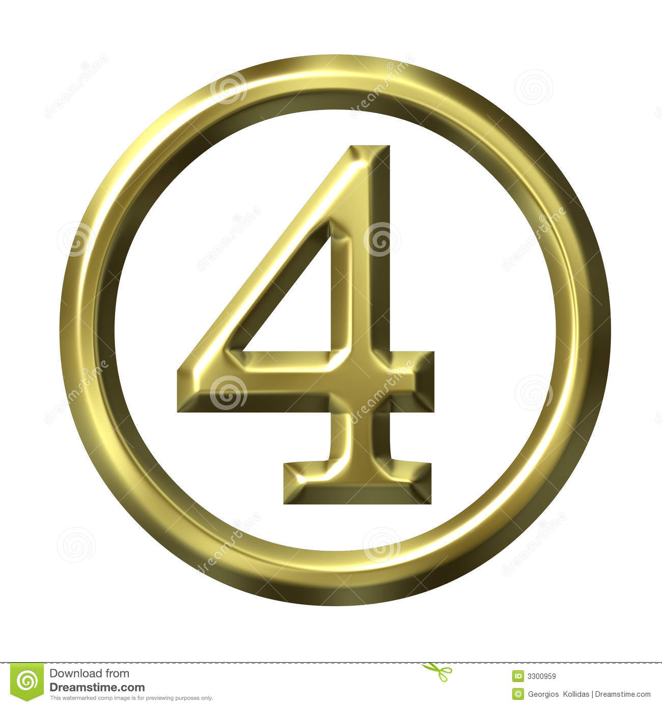 3d Golden Number 4 Royalty Free Stock Images Image 3300959