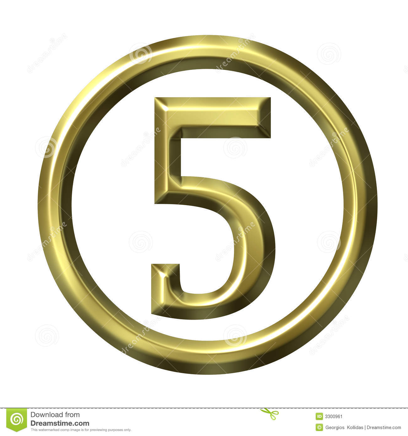 3d Golden Number 5 Stock Illustration  Illustration Of