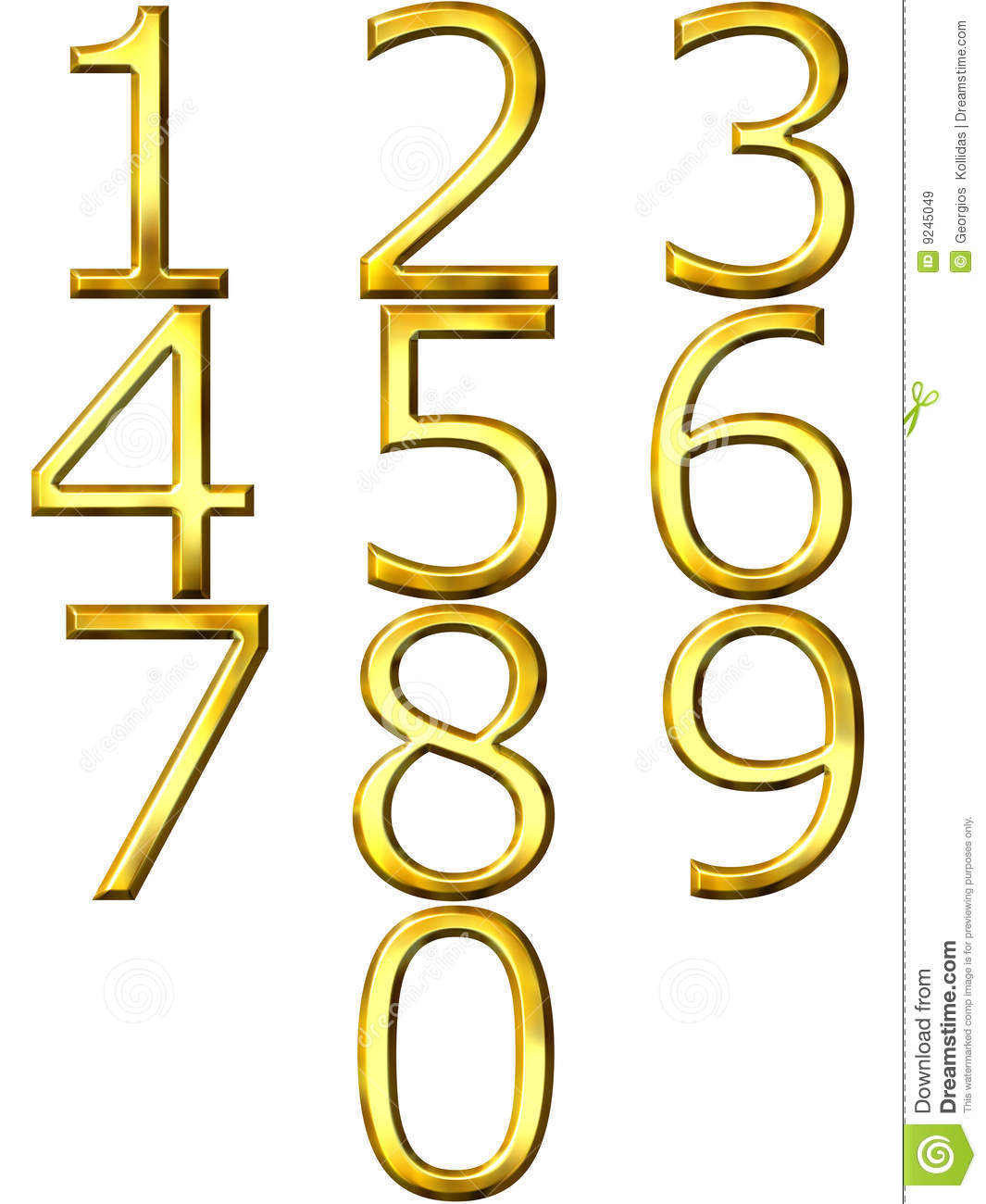 3d Golden Numbers Stock Illustration  Illustration Of