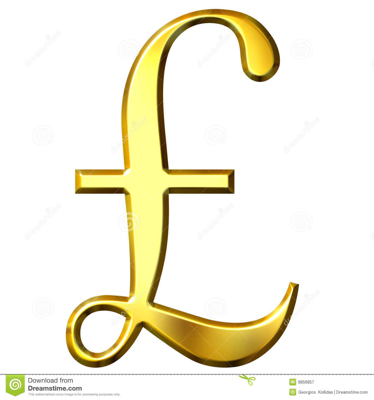 3d Golden Pound Symbol Stock Illustration Illustration Of Financial