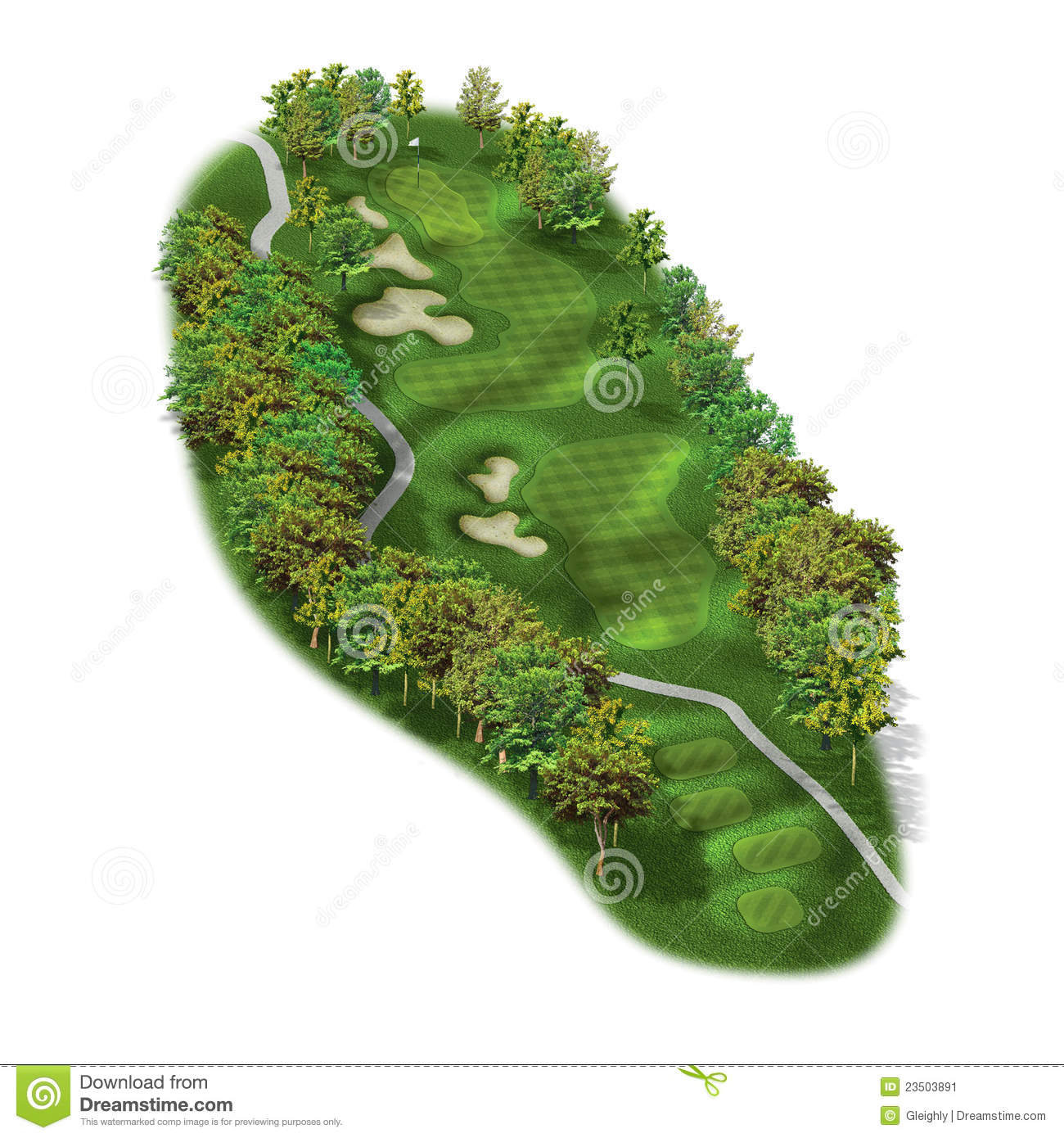 3d Golf Course Hole Layouts Stock Illustration