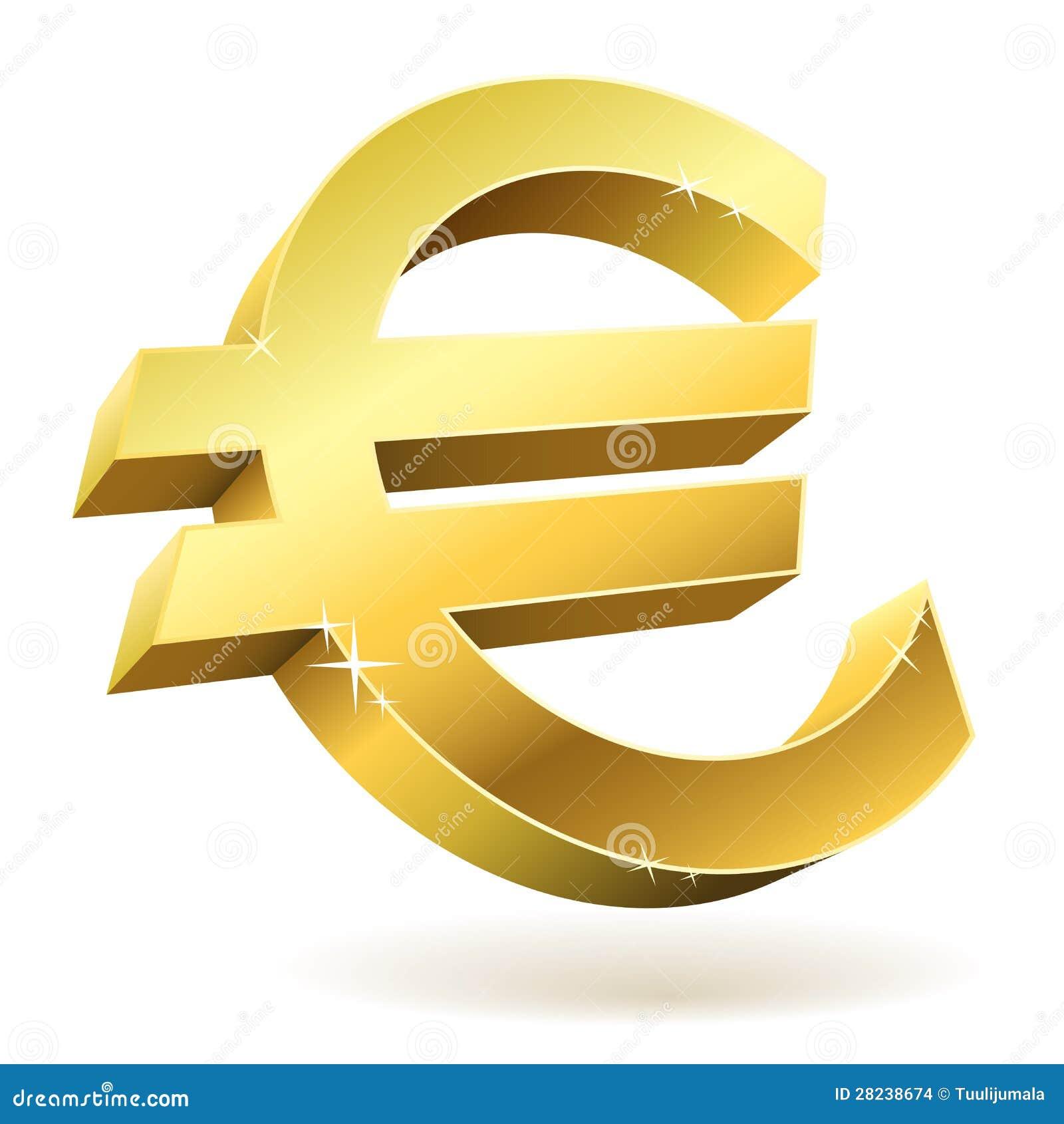 3D Gouden Euro Teken Stock Afbeeldingen - Afbeelding: 28238674