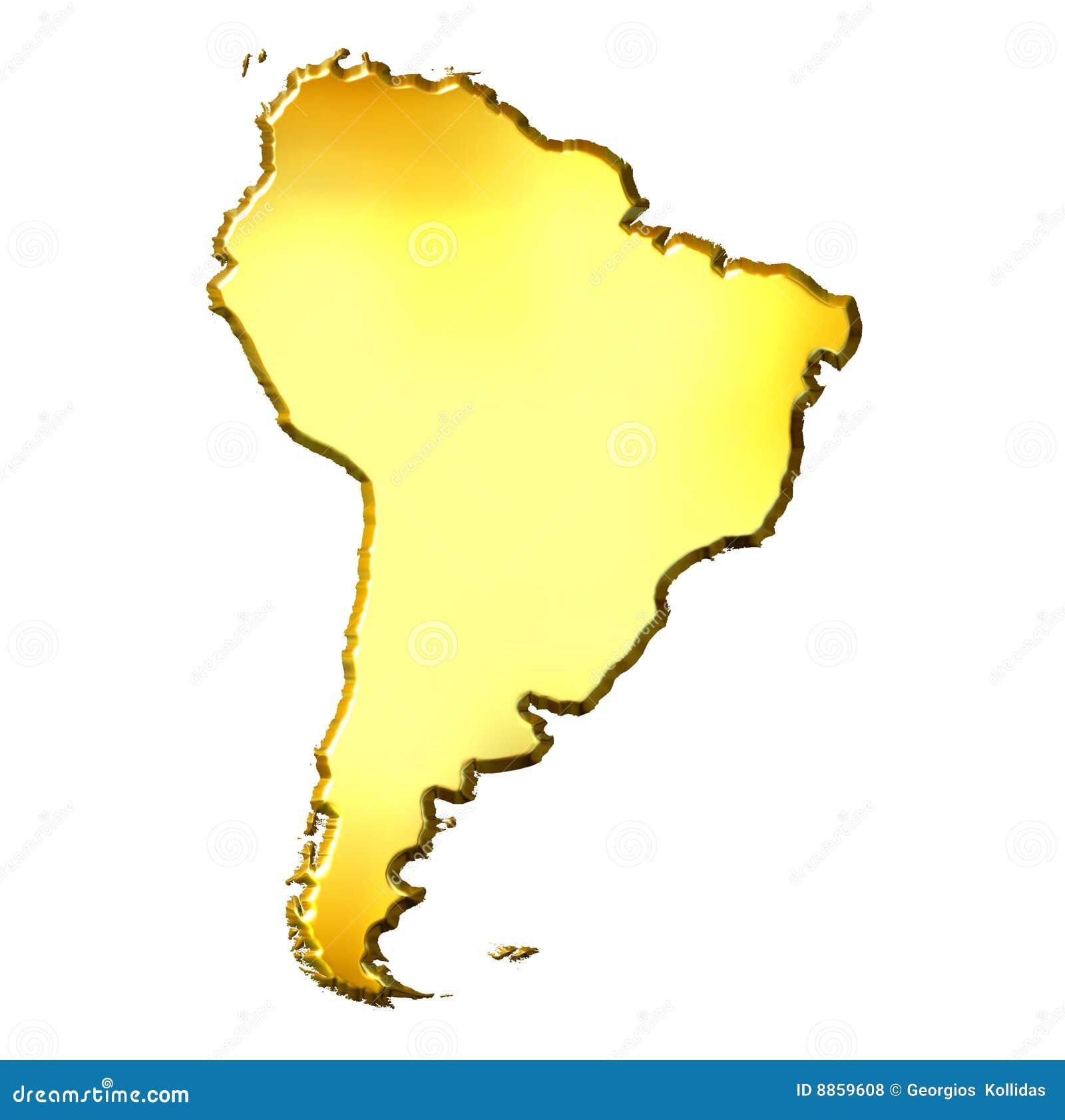 3d Gouden Kaart van Zuid-Amerika