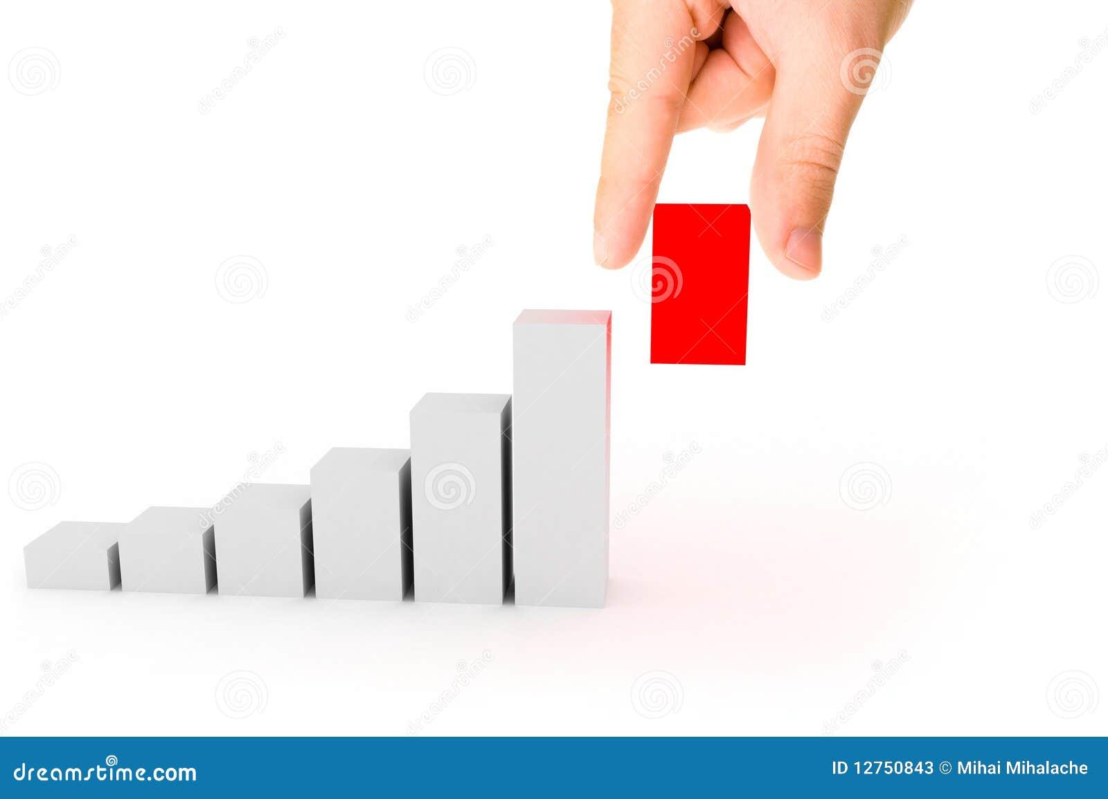 3d grafiek met hand
