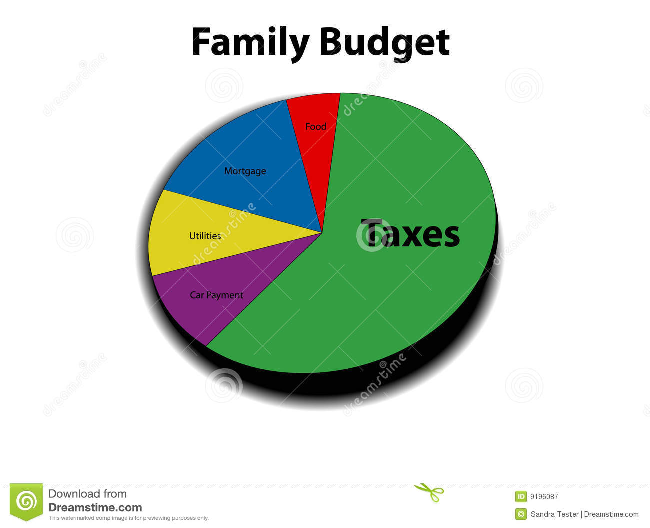 3D graph of family budget stock vector  Illustration of