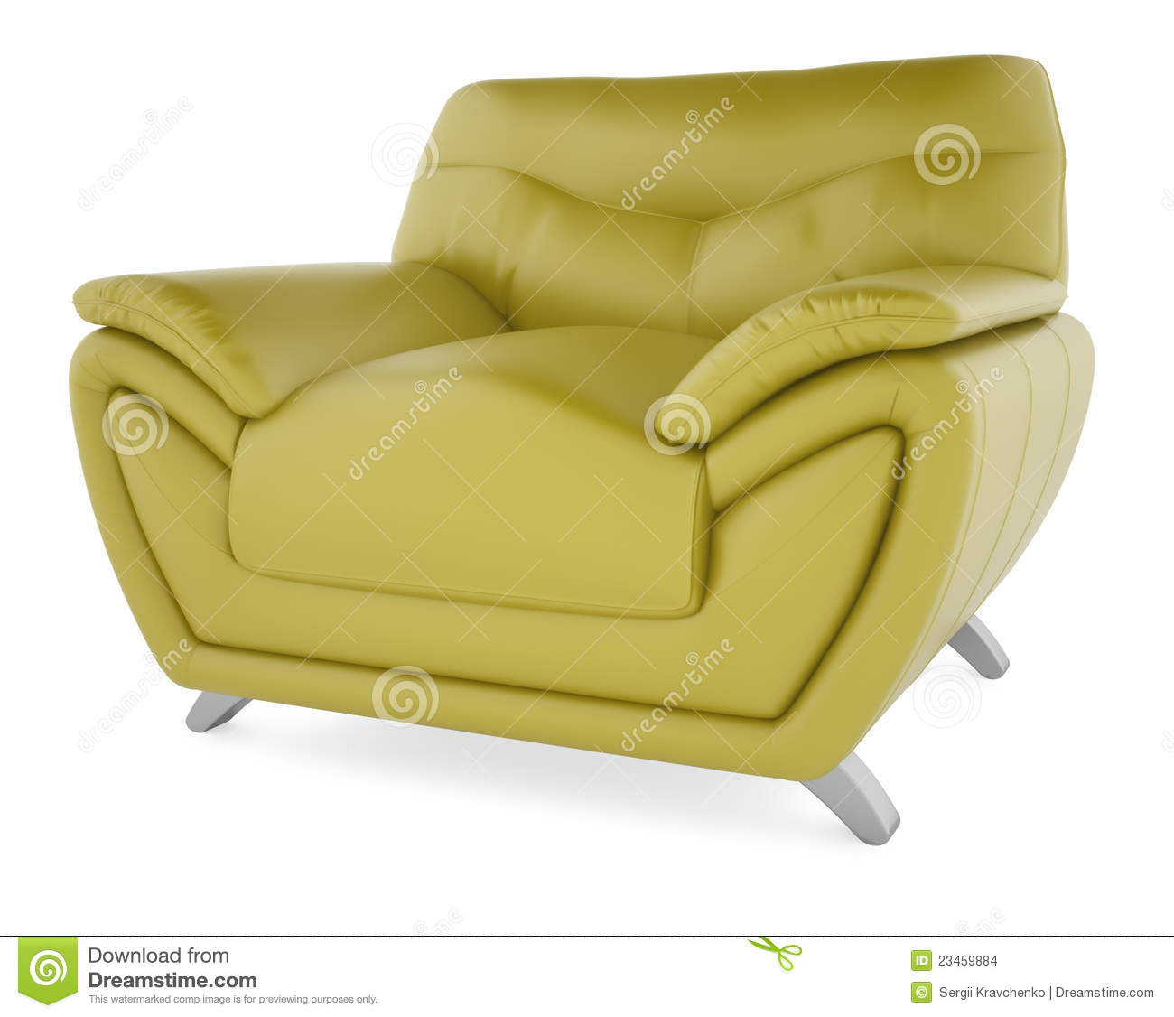 3D Green Chair On A White Background Stock Images Image