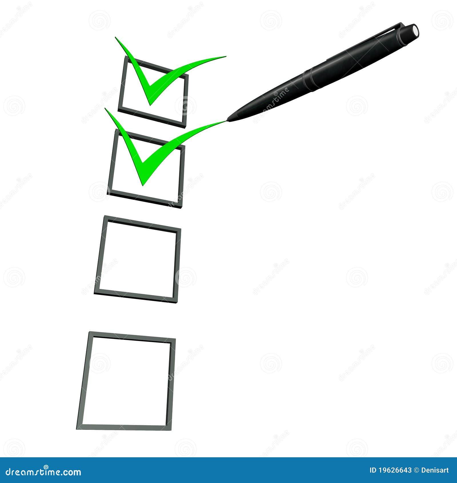 3d Green Check Box Pen Stock Photos - Image: 19626643
