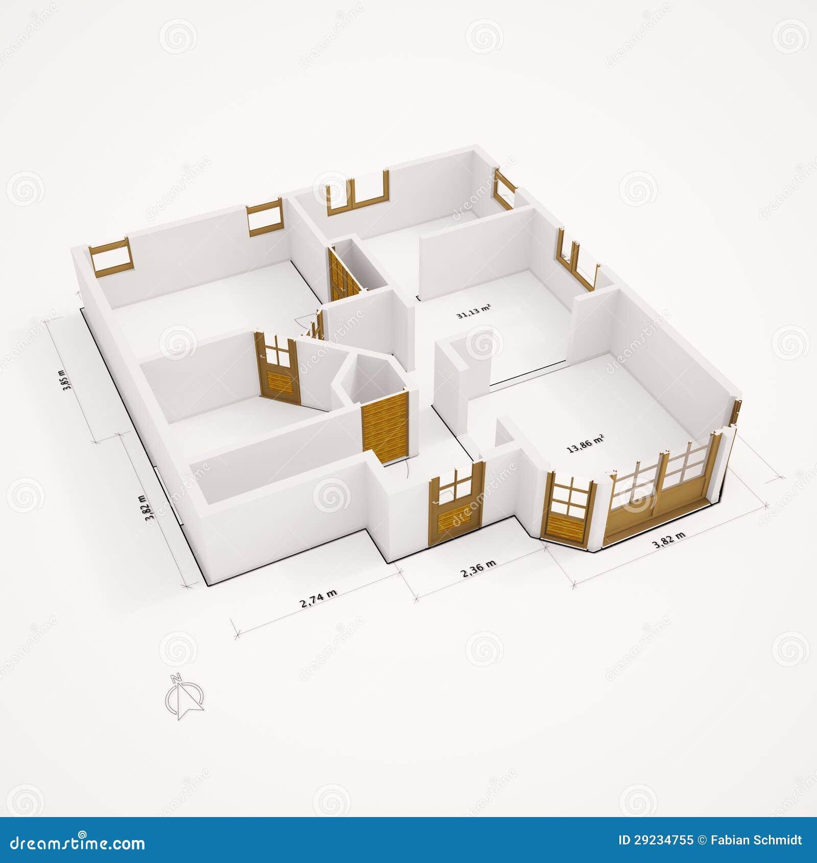Download 3D Groundplan Com As Paredes Lisas Ilustração Stock - Ilustração de modelo, residência: 29234755