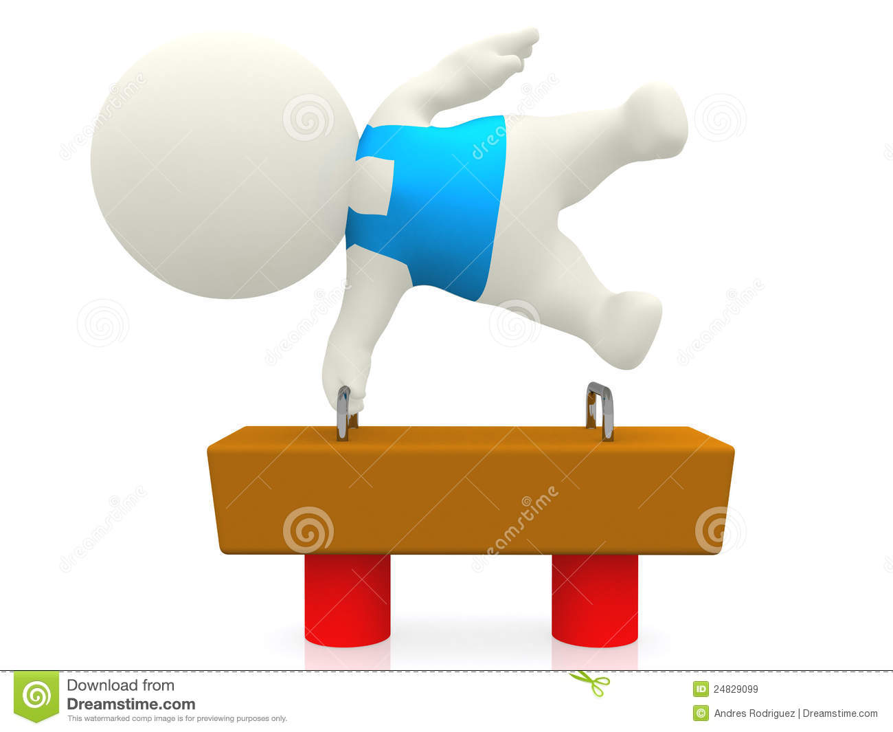 3d Gymnast On Balance Beam Stock Illustration
