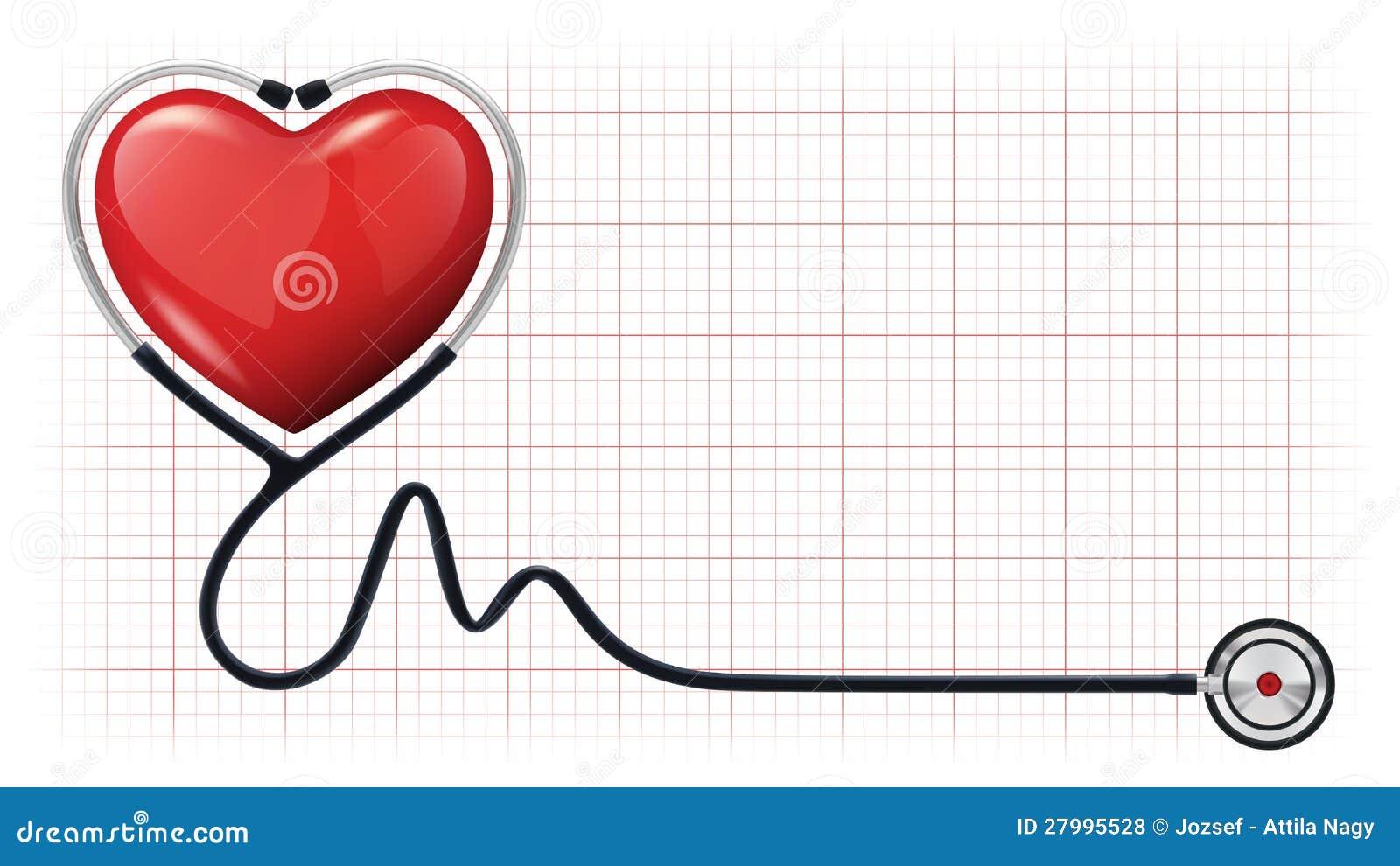 3d heart cardiogram stethoscope vector template