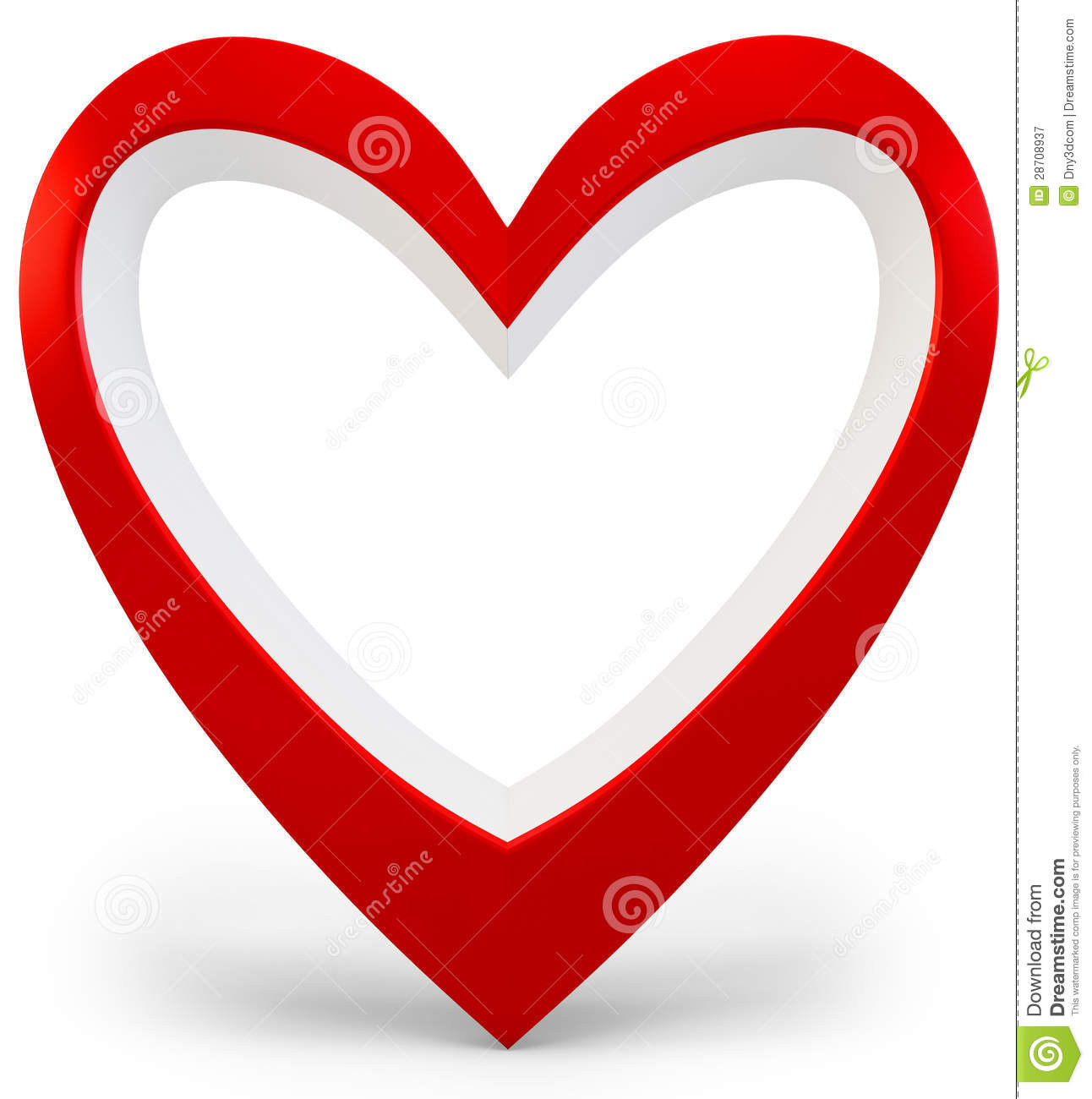 3d Heart Shape Love You Symbol Valentines Day Abstract Stock