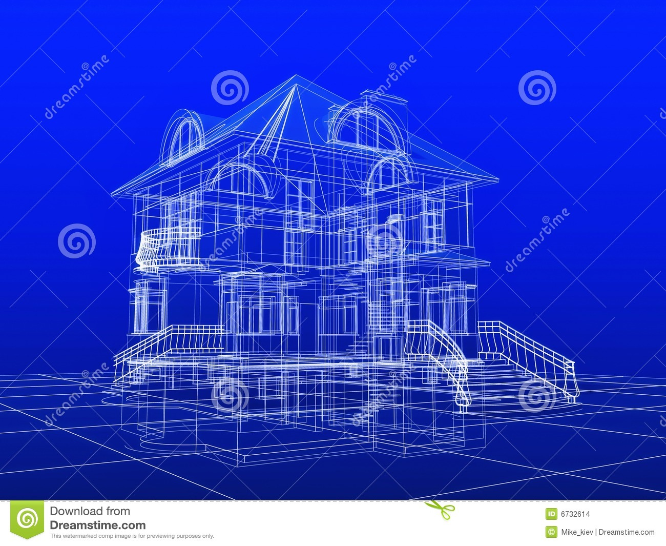3d House Blueprint Stock Illustration Image Of
