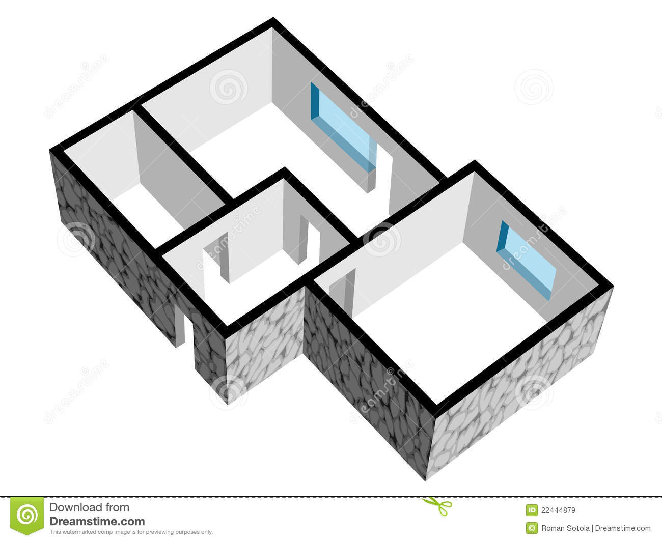 3d House Floor Plan With Stone Texture Stock Vector