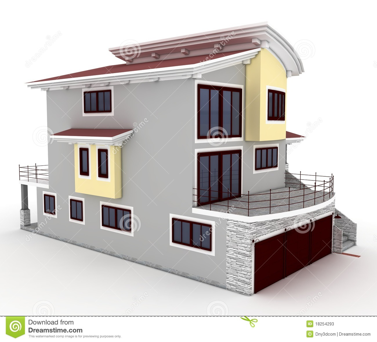 Home 3d Design Online Minimalist: 3d House Isolated On White Stock Illustration