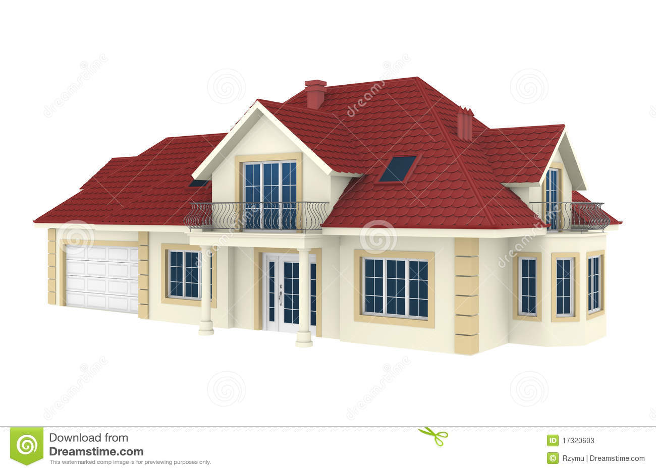 3d house isolated on white background stock illustration for 3d wallpaper of house