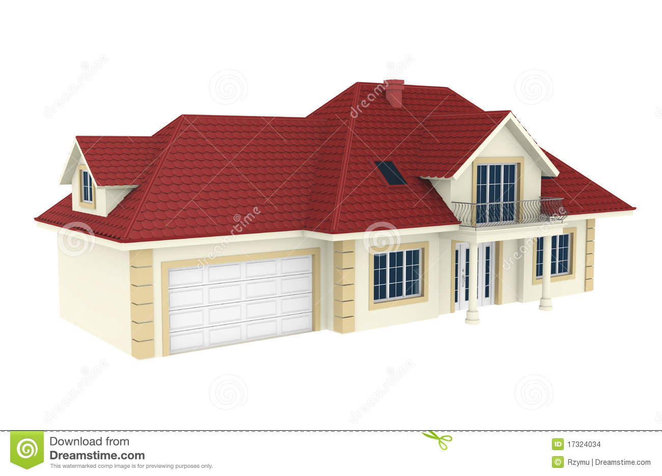 3d House Isolated On White Background Stock Images Image