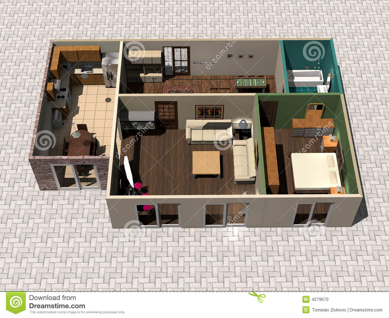3d House Plan Stock Illustration Illustration Of Improvement 4279670