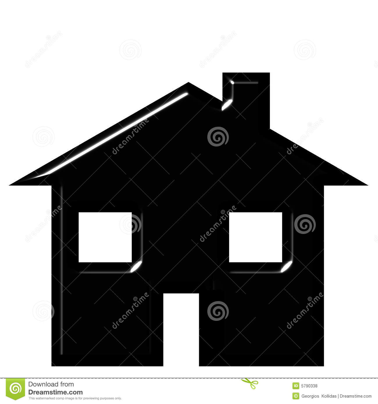 3D House Silhouette Royalty Free Stock Photos