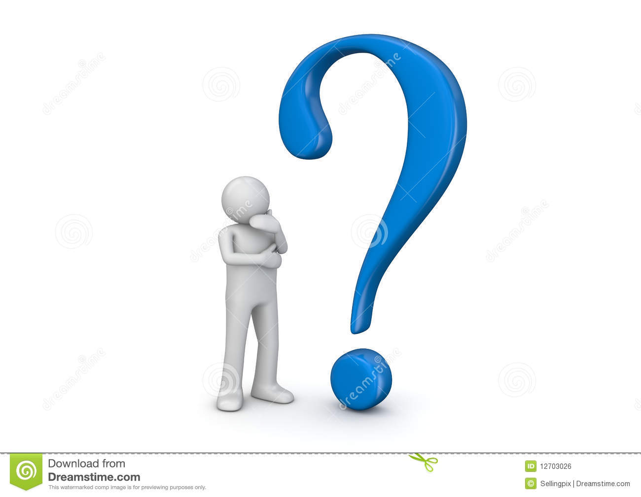 3d Human And Blue Question Mark Royalty Free Stock Image - Image ...