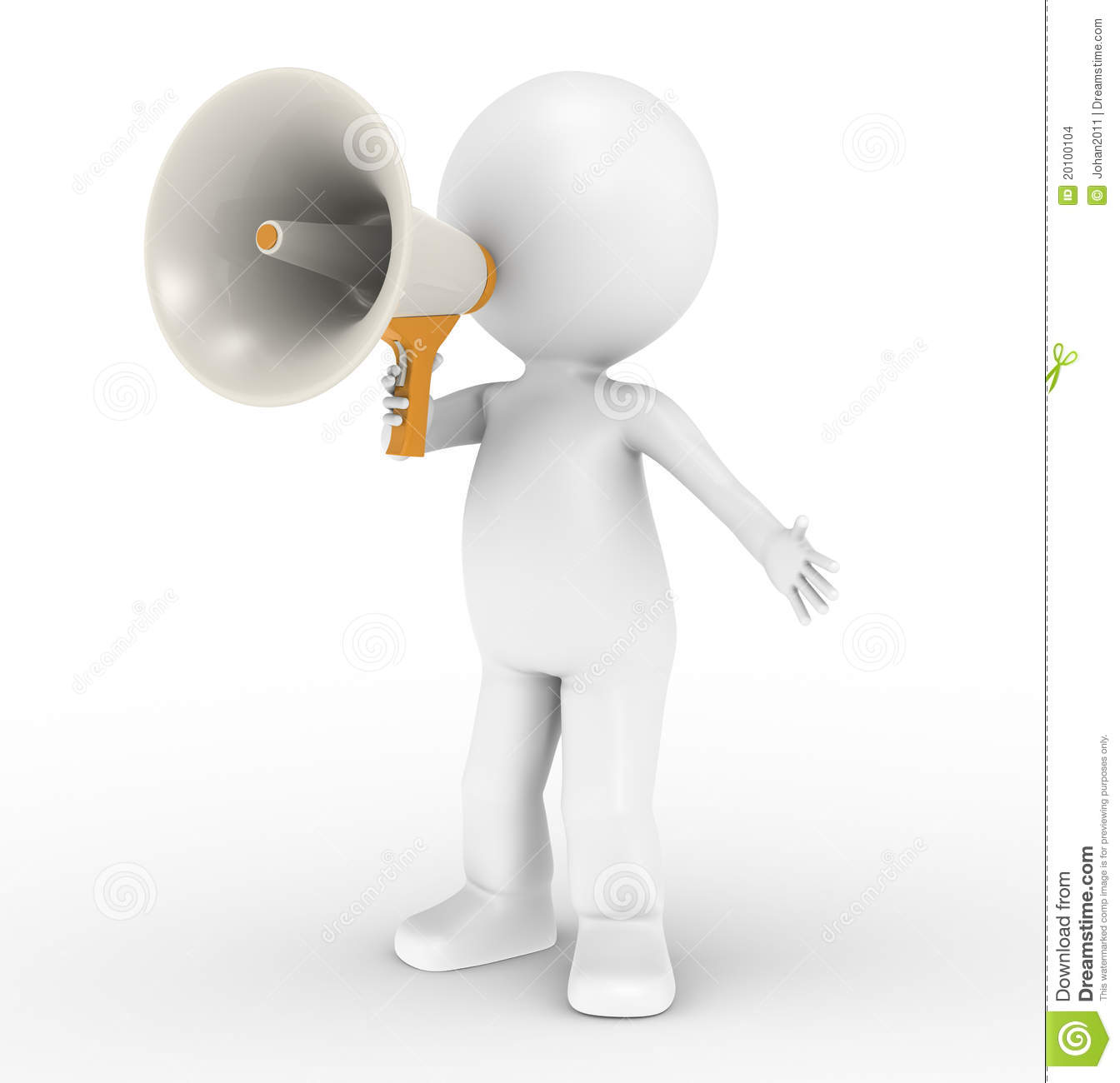 3d Human Character With Megaphone Stock Images - Image: 20100104