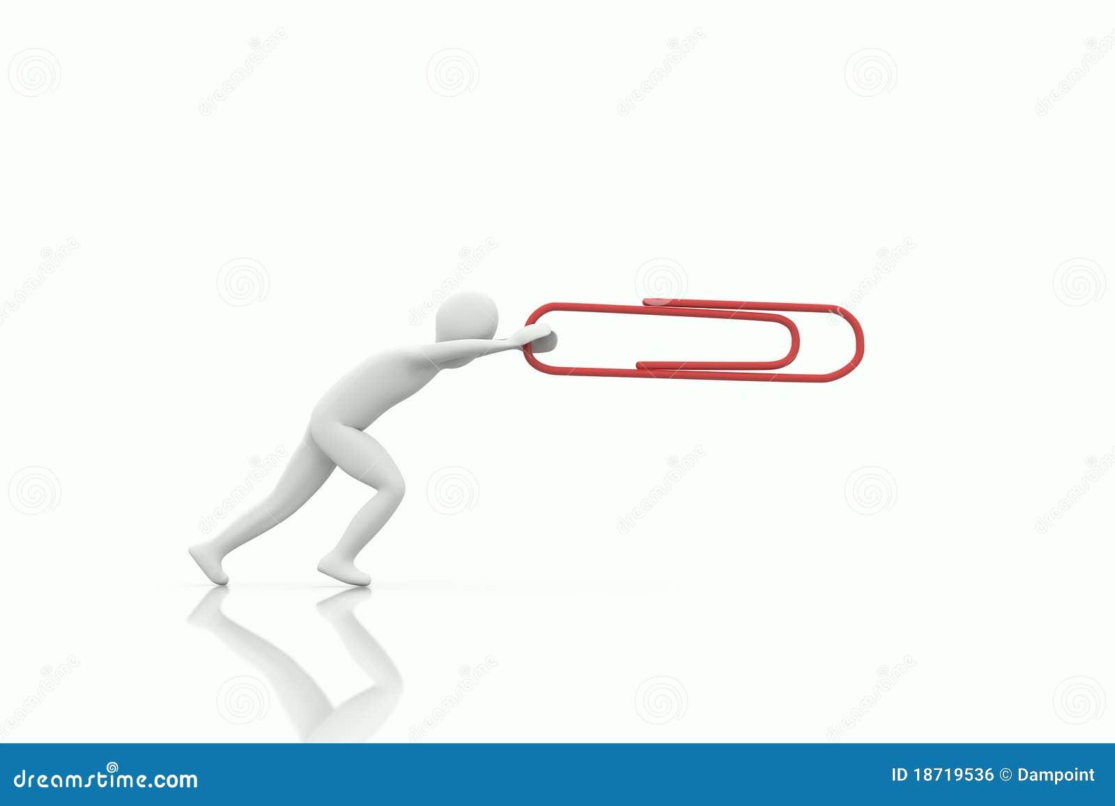 3d Human Push A Big Paper Clip Royalty Free Stock Image - Image ...
