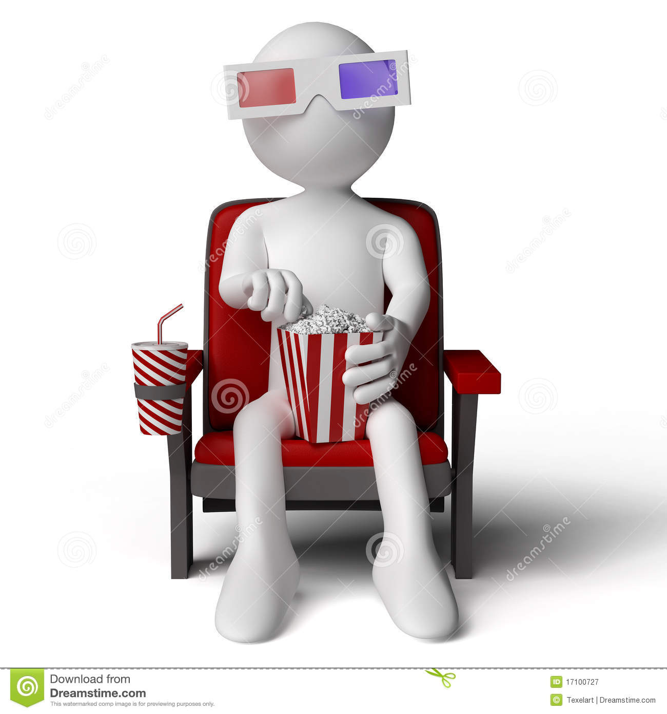 3d Human Sitting On A Armchair In The Cinema Stock