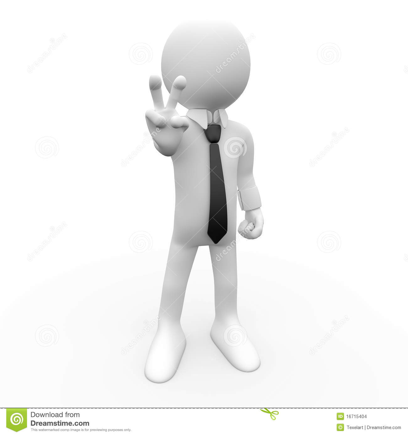 3d Human With The Symbol Of Victory Stock Images Image