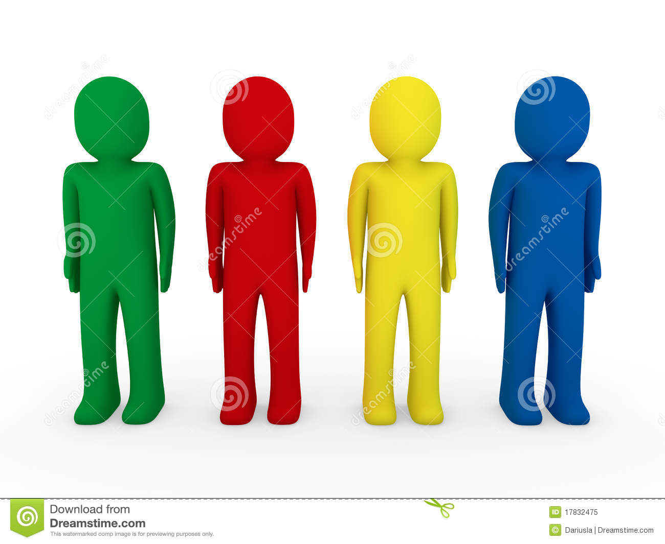 3d human team blue red green yellow stock illustration