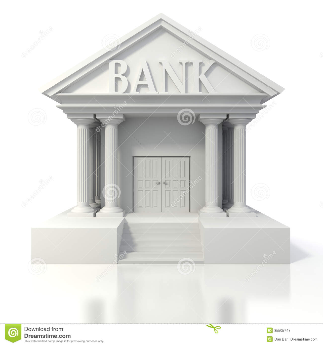 bank building 3d icon royalty free stock image. Black Bedroom Furniture Sets. Home Design Ideas