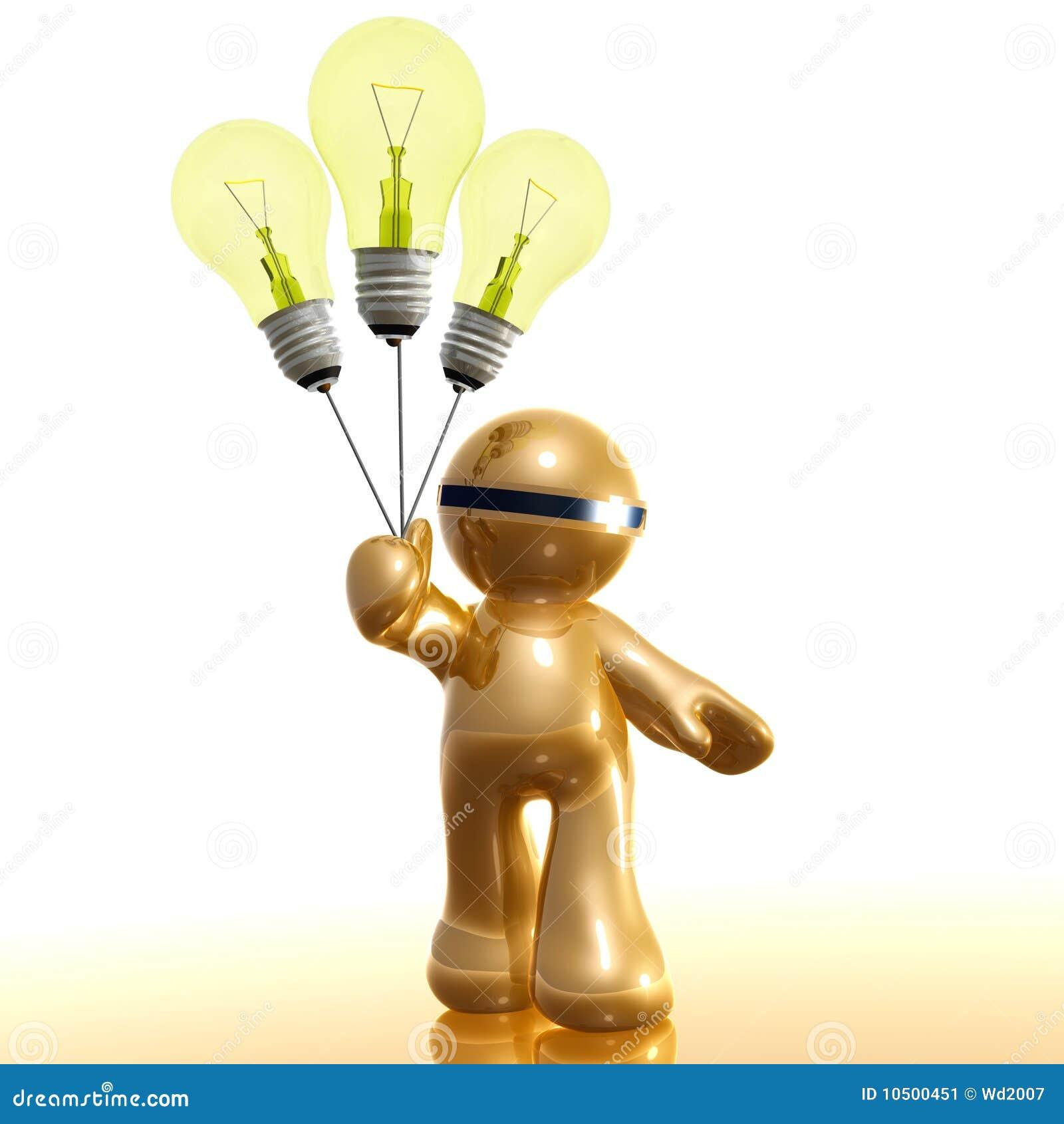 3d ikona z pomysłu żarówki balonem
