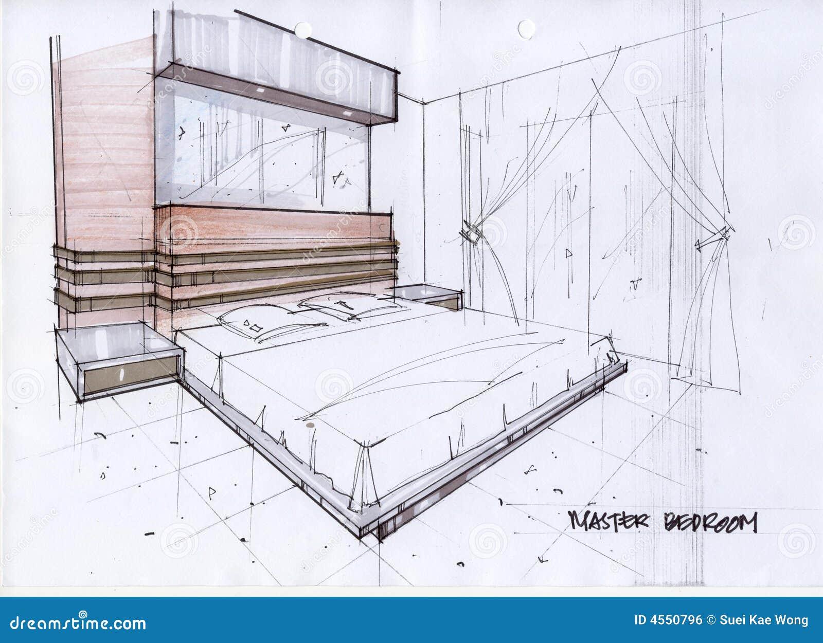 3d Illustratie Van De Schets Voor Een Hoofdslaapkamer