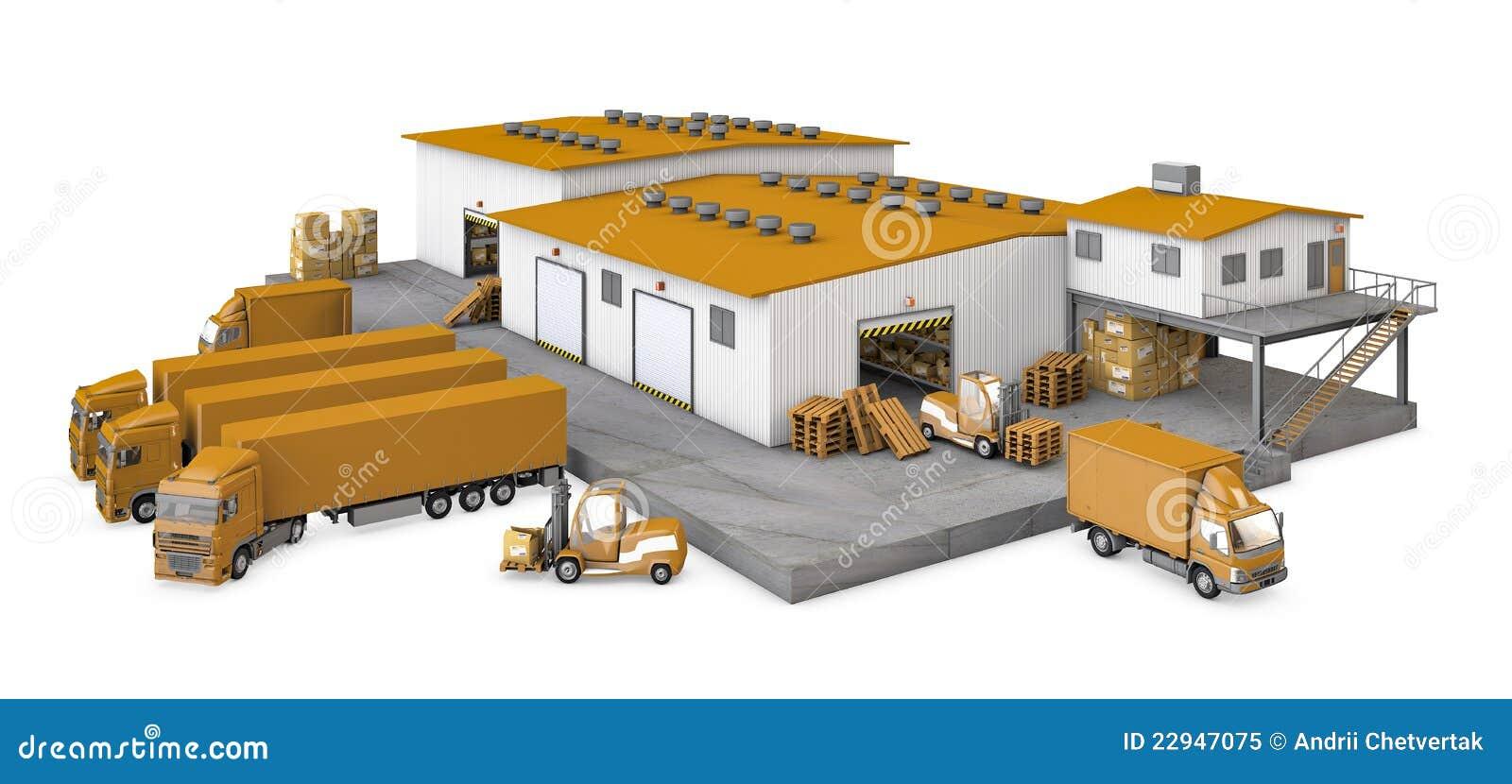 3d illustratie van infrastructuurpakhuis met t