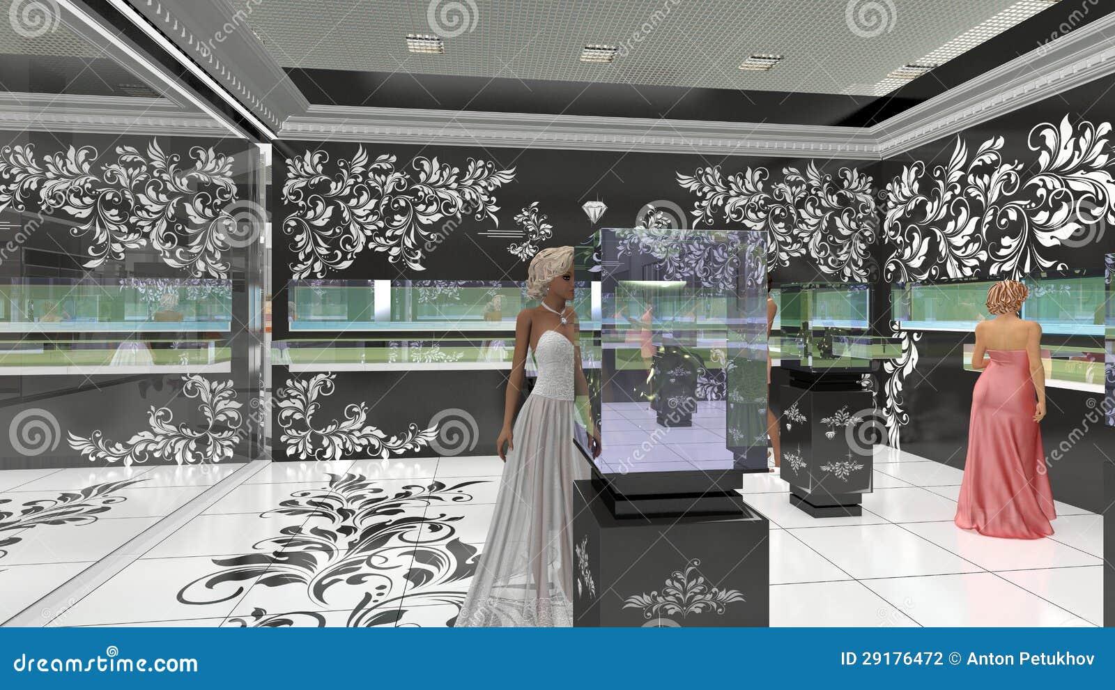 3D illustration of jewelry salon
