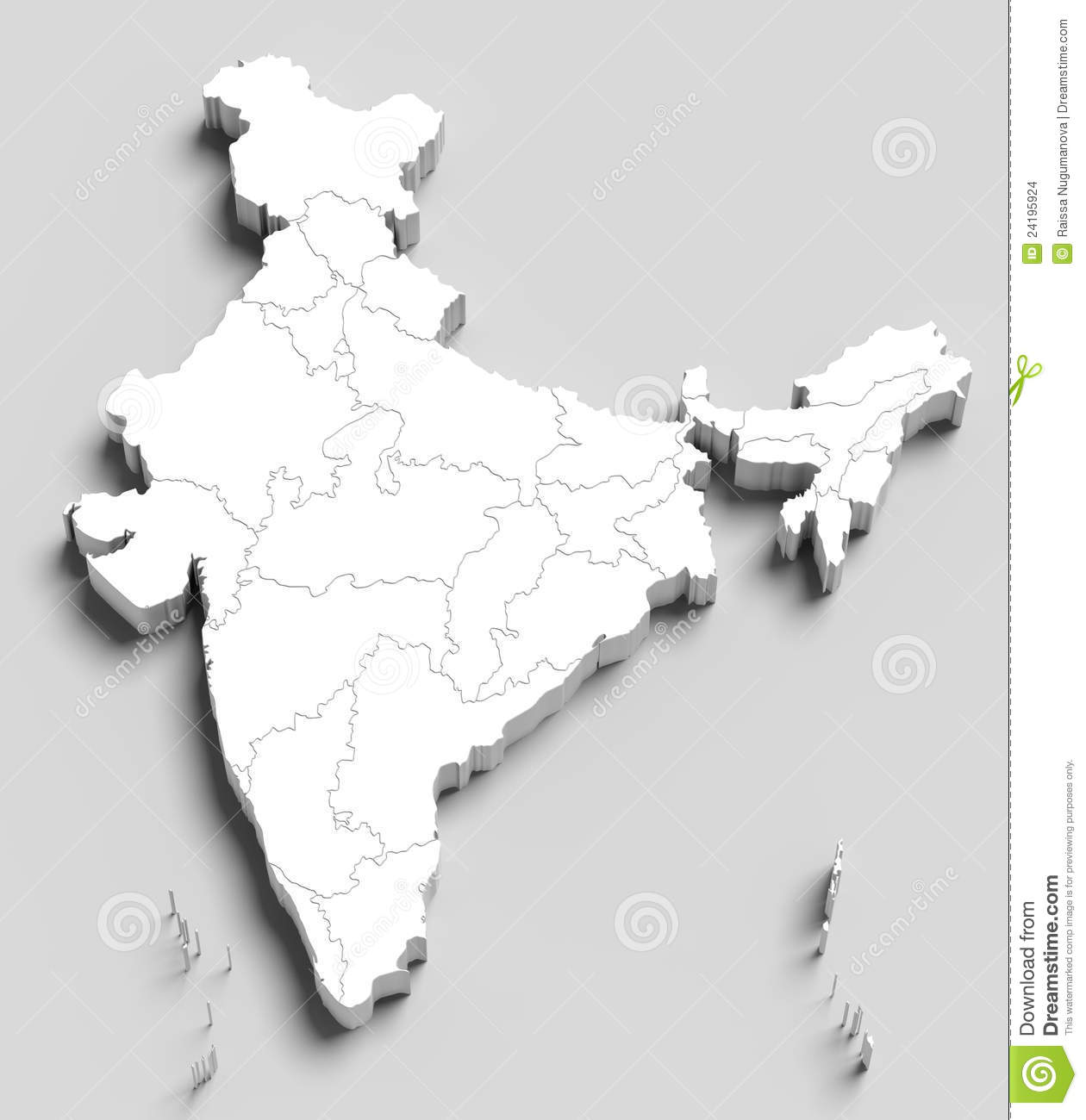 3d India White Map On Grey Stock Illustration