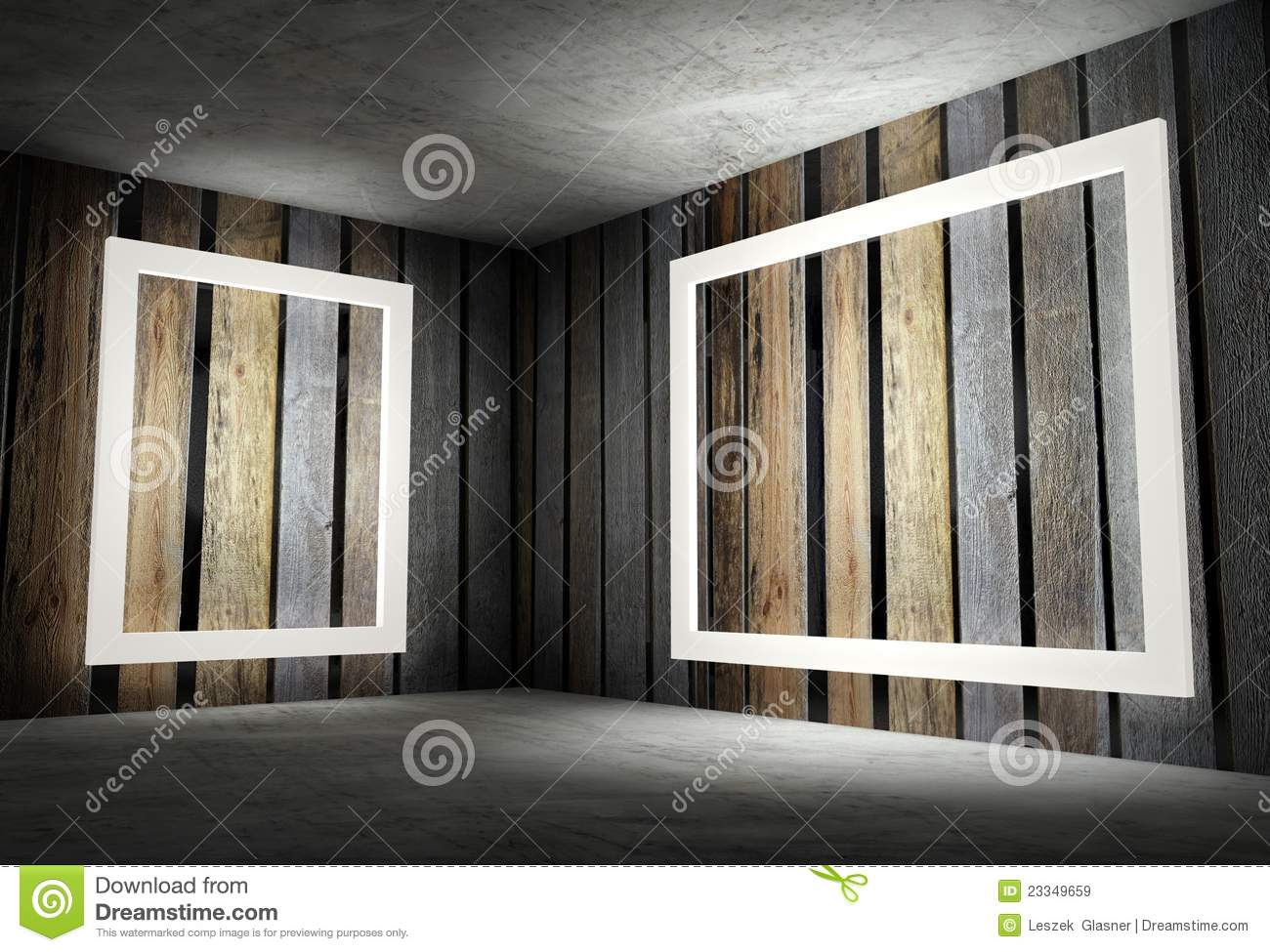 3d interior corner with white empty frames royalty free stock images