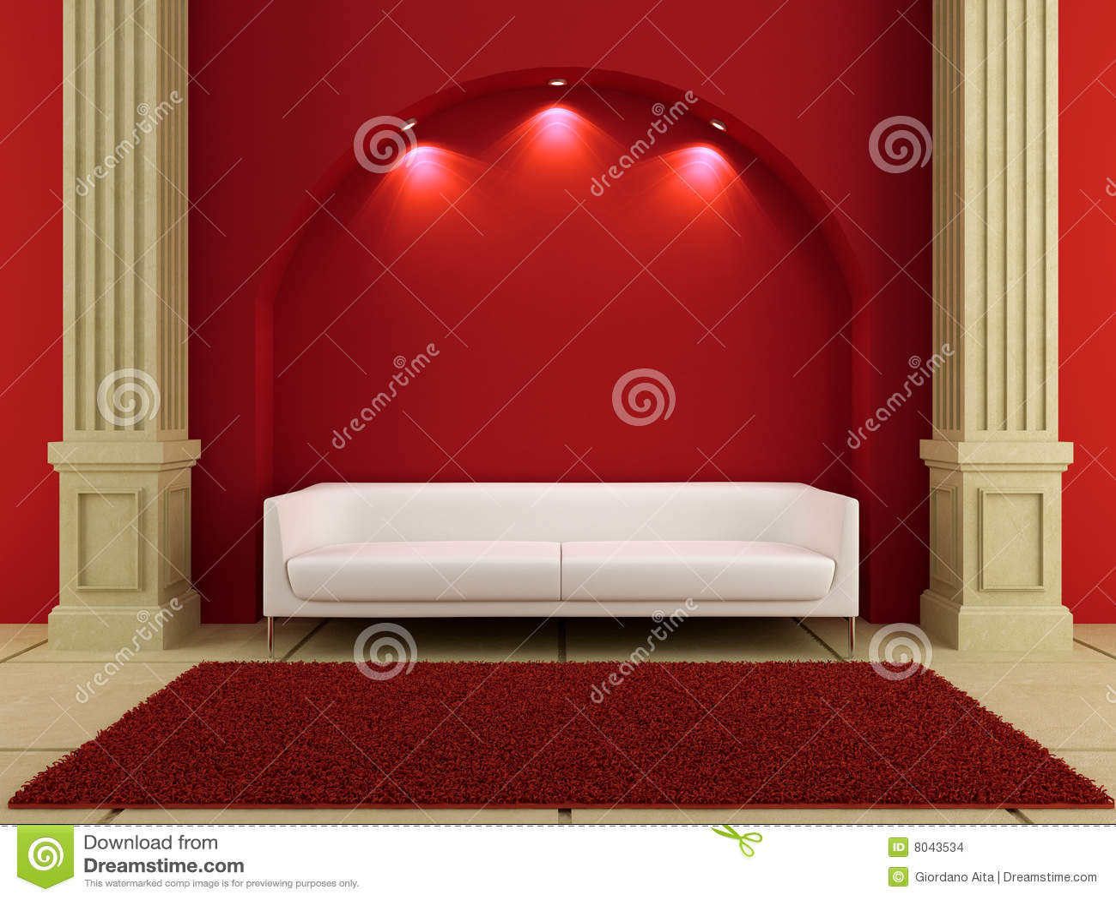 3d interiores - sofá branco no quarto vermelho