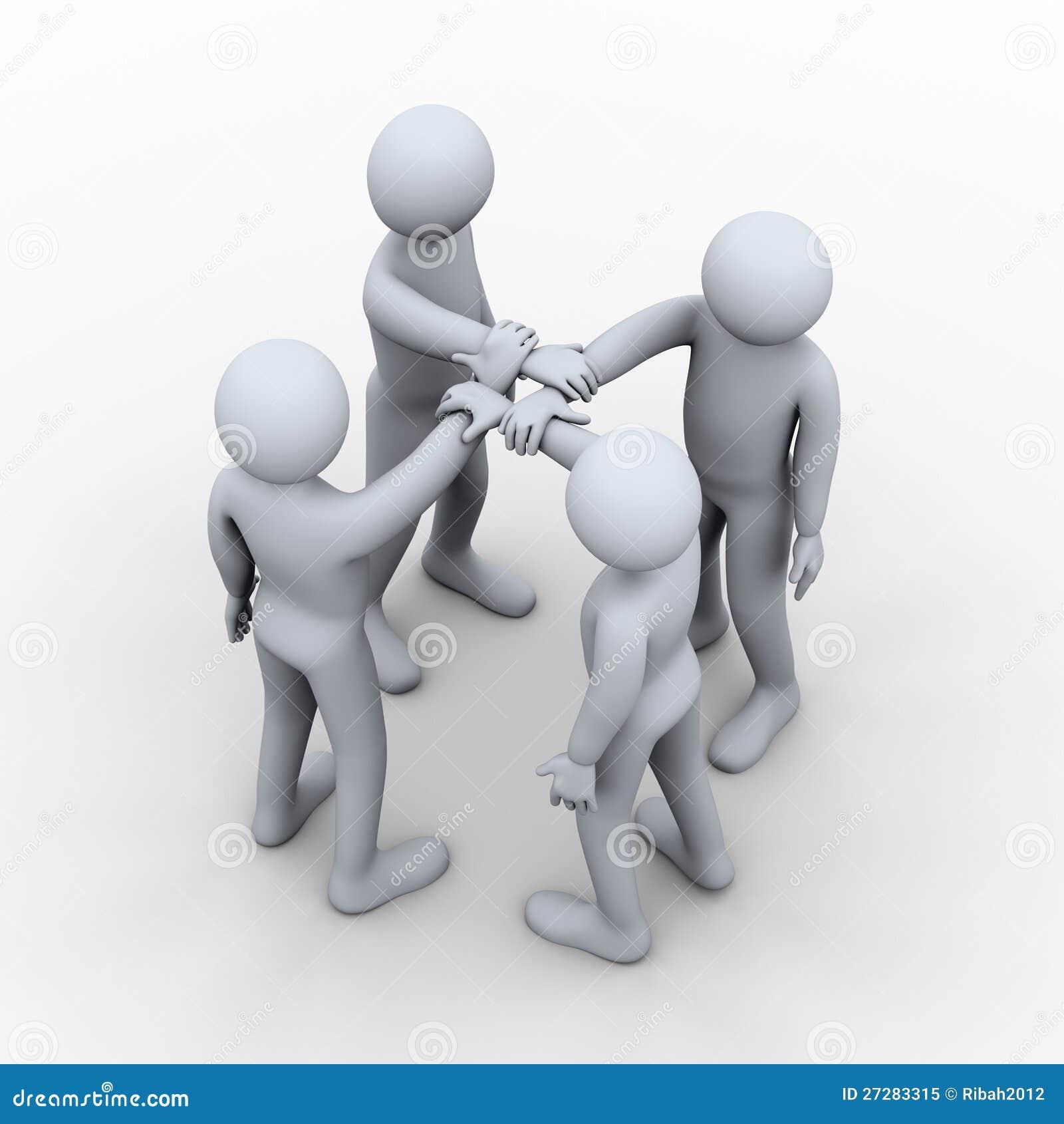 3d interlocked händer av fyra folk