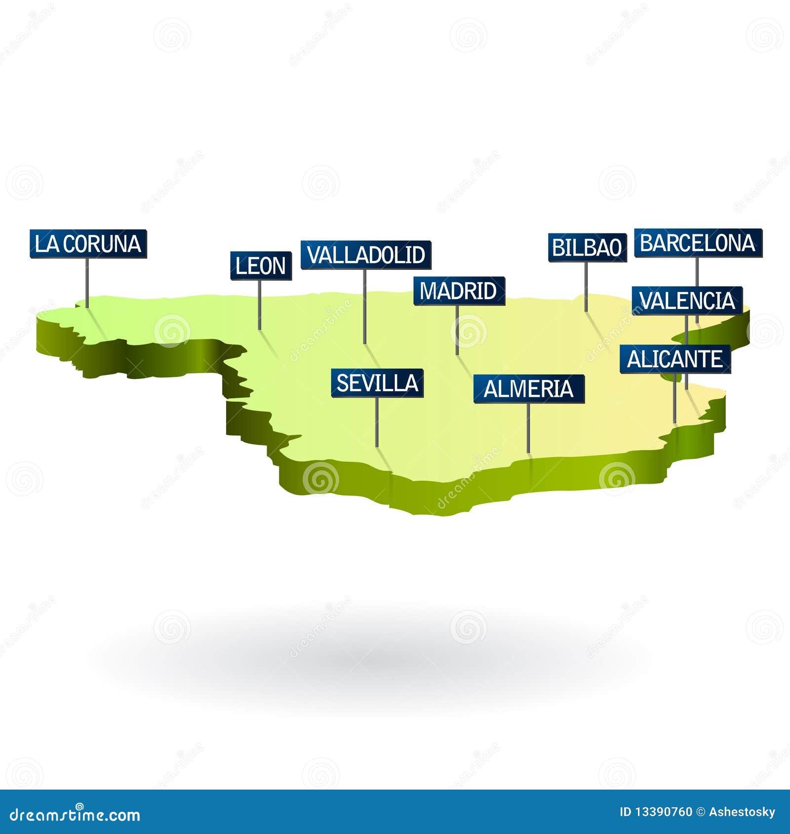 3d kaart van Spanje met steden